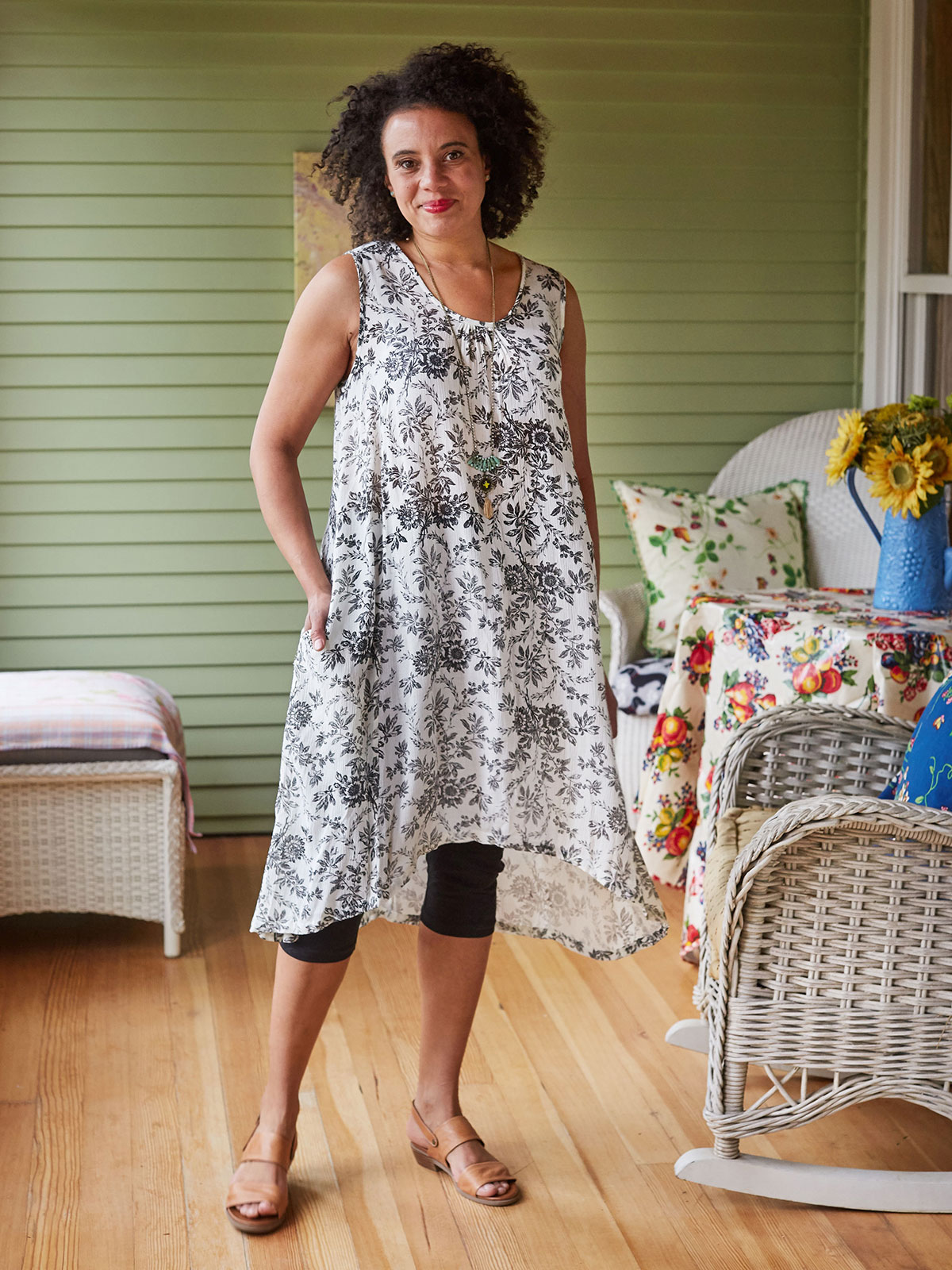 French Flower Sleeveless Dress