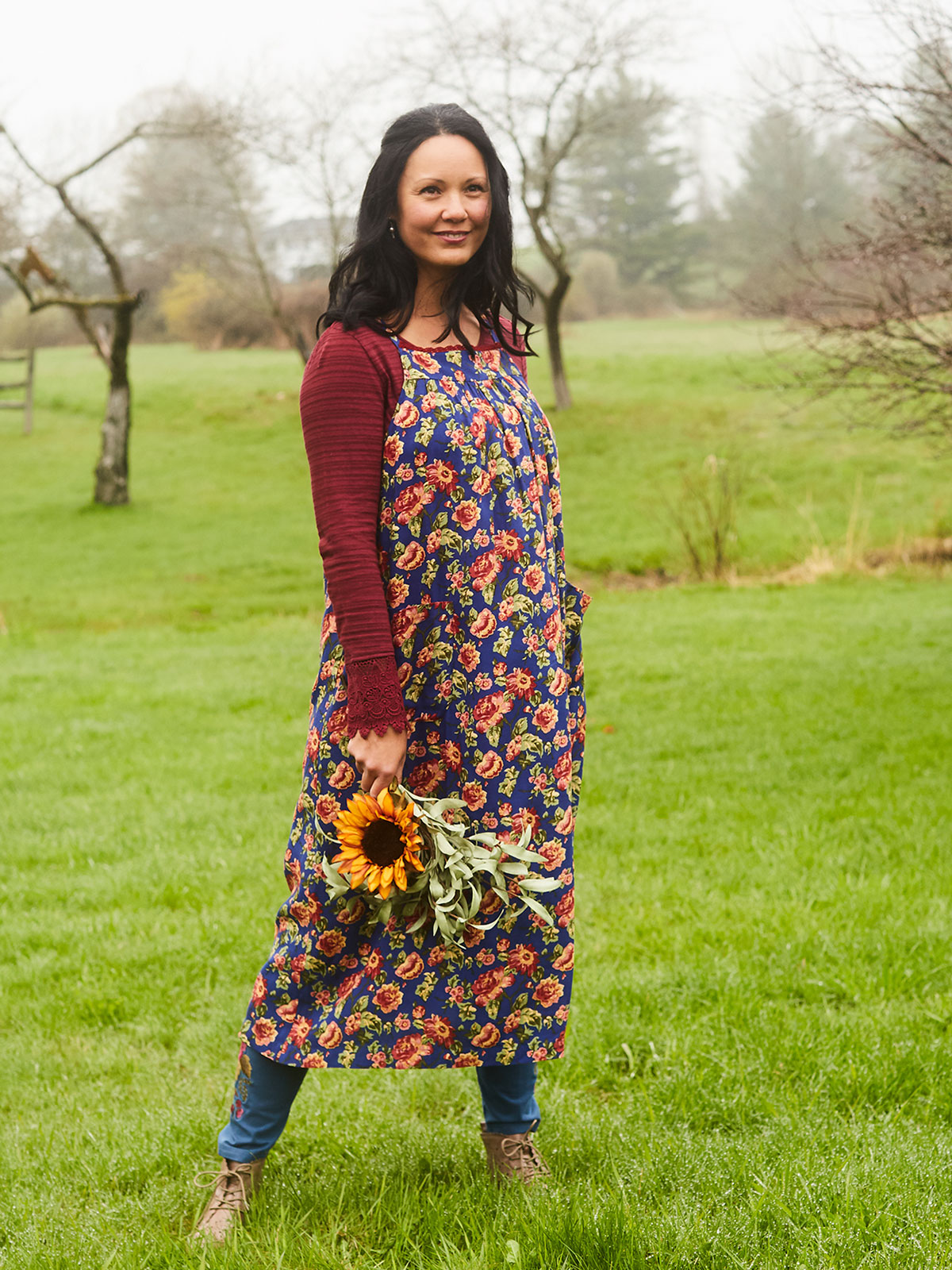 Folk Rose Smock Dress