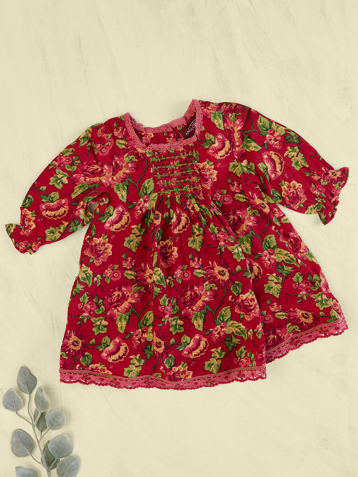 Folk Rose Baby Dress