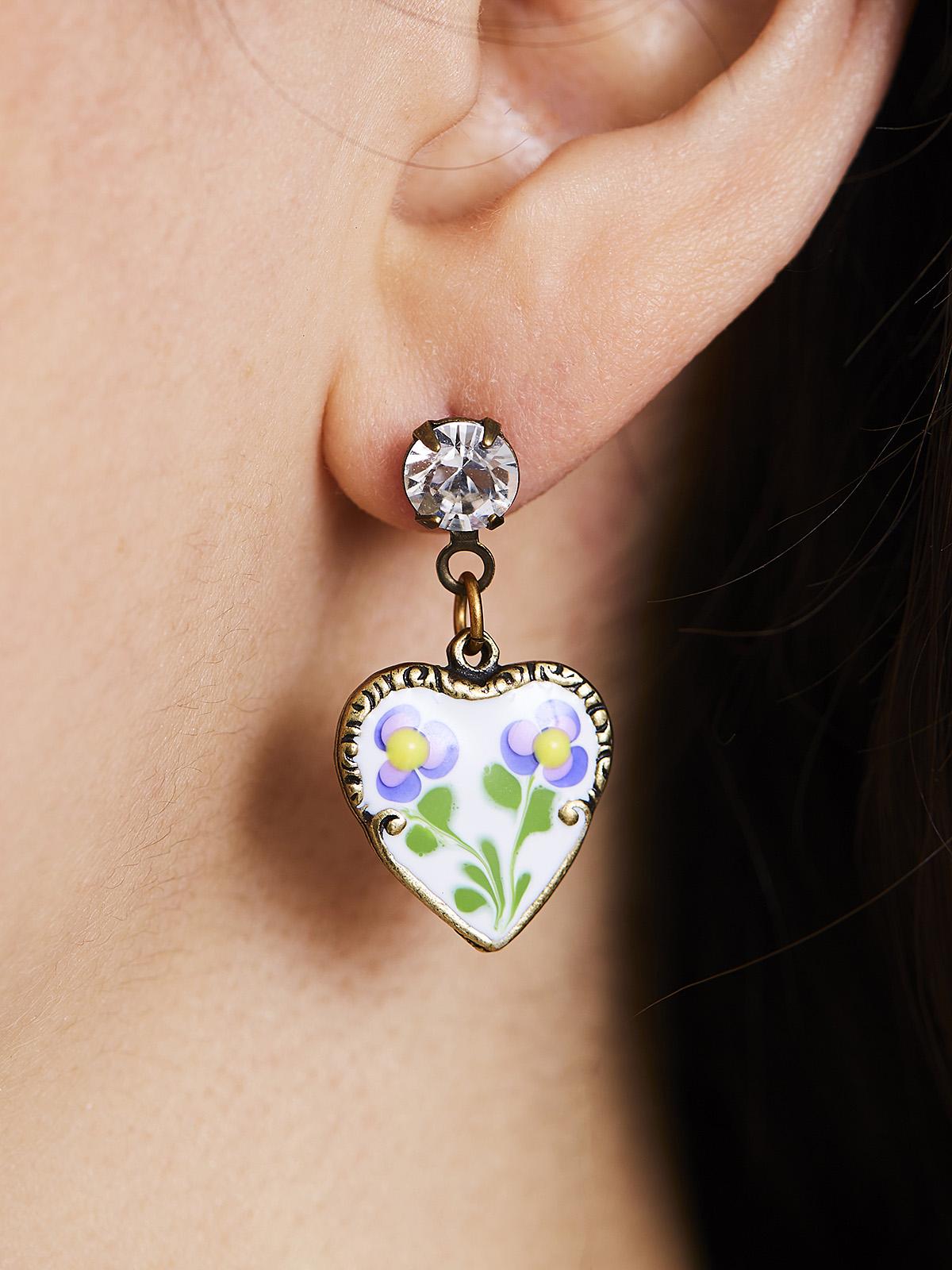 Jill's Garden Heart Post Earrings