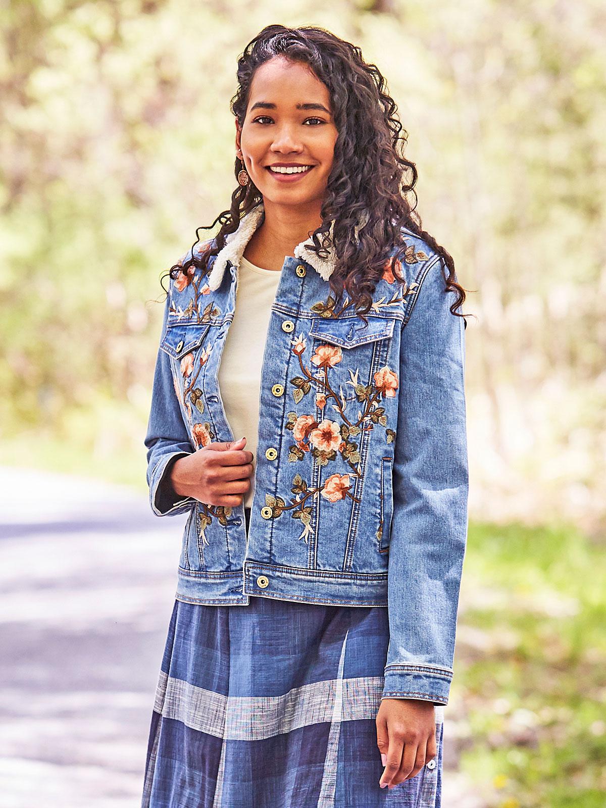 Cottage Rose Sherpa Jean Jacket
