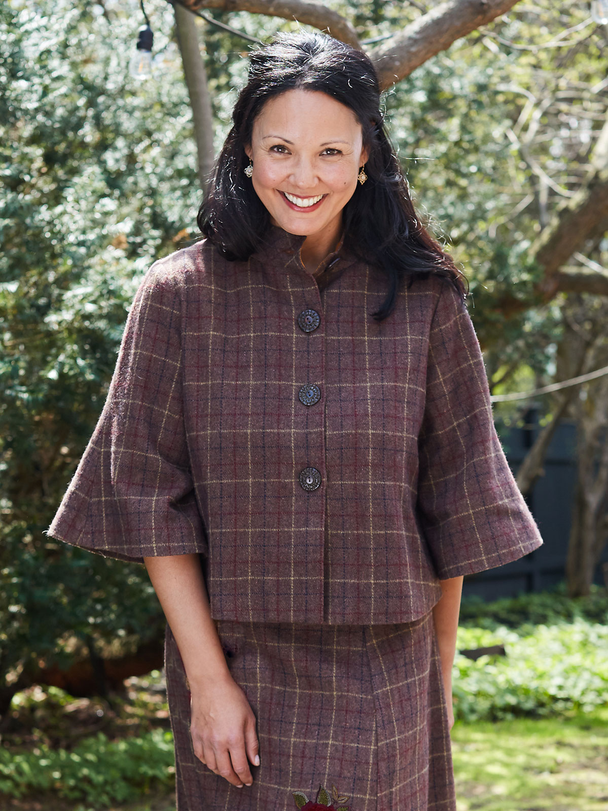 Nutmeg Plaid Swing Coat