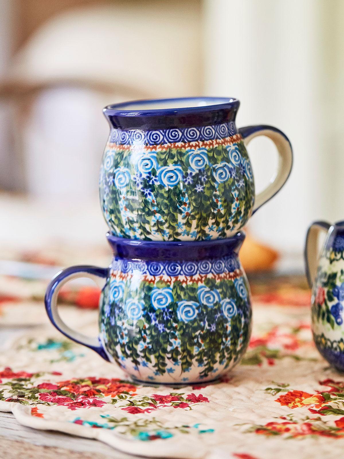 Blue Roses Bubble Mug Set of 2