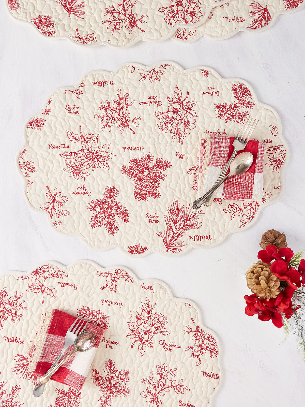 Christmas Botanical Quilted Placemat Set of 4