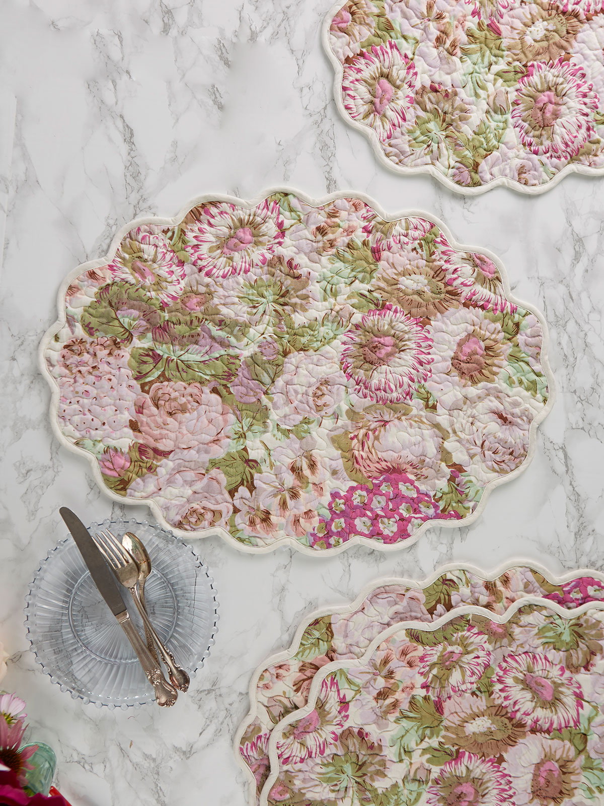 Spring Gathering Quilted Placemat Set of 4