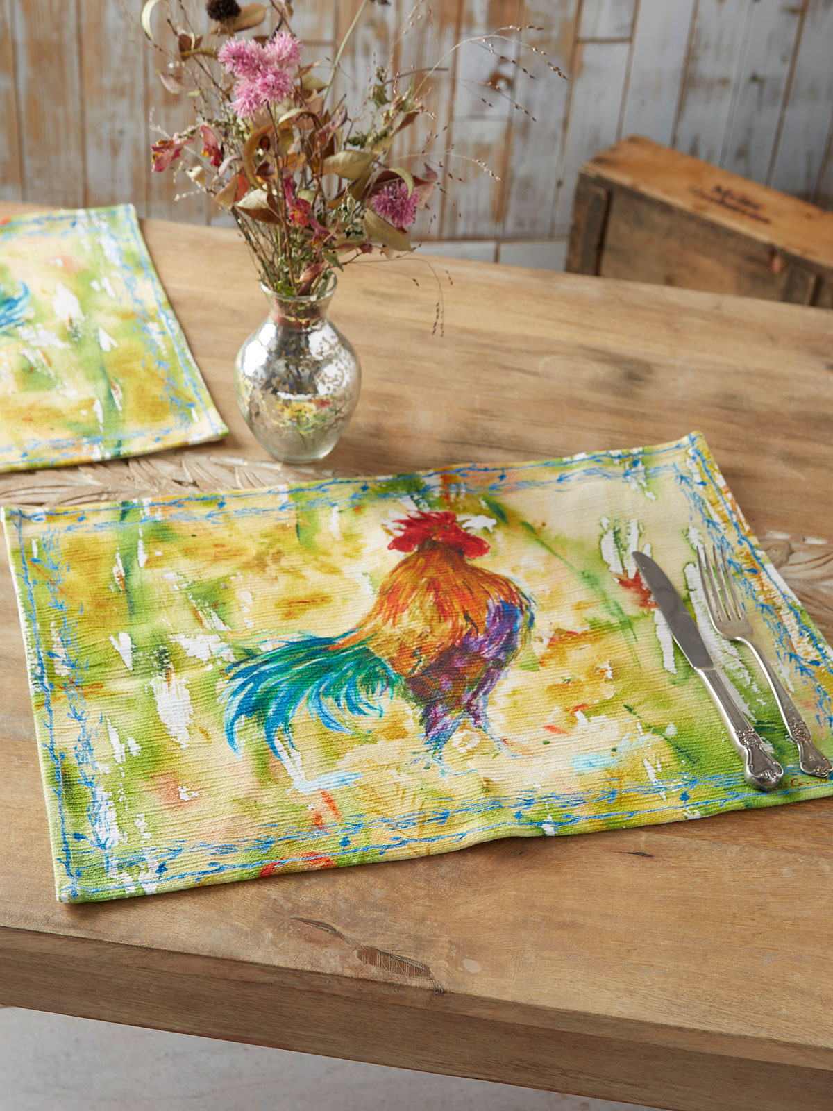 Rooster Watercolor Placemat Set of 4