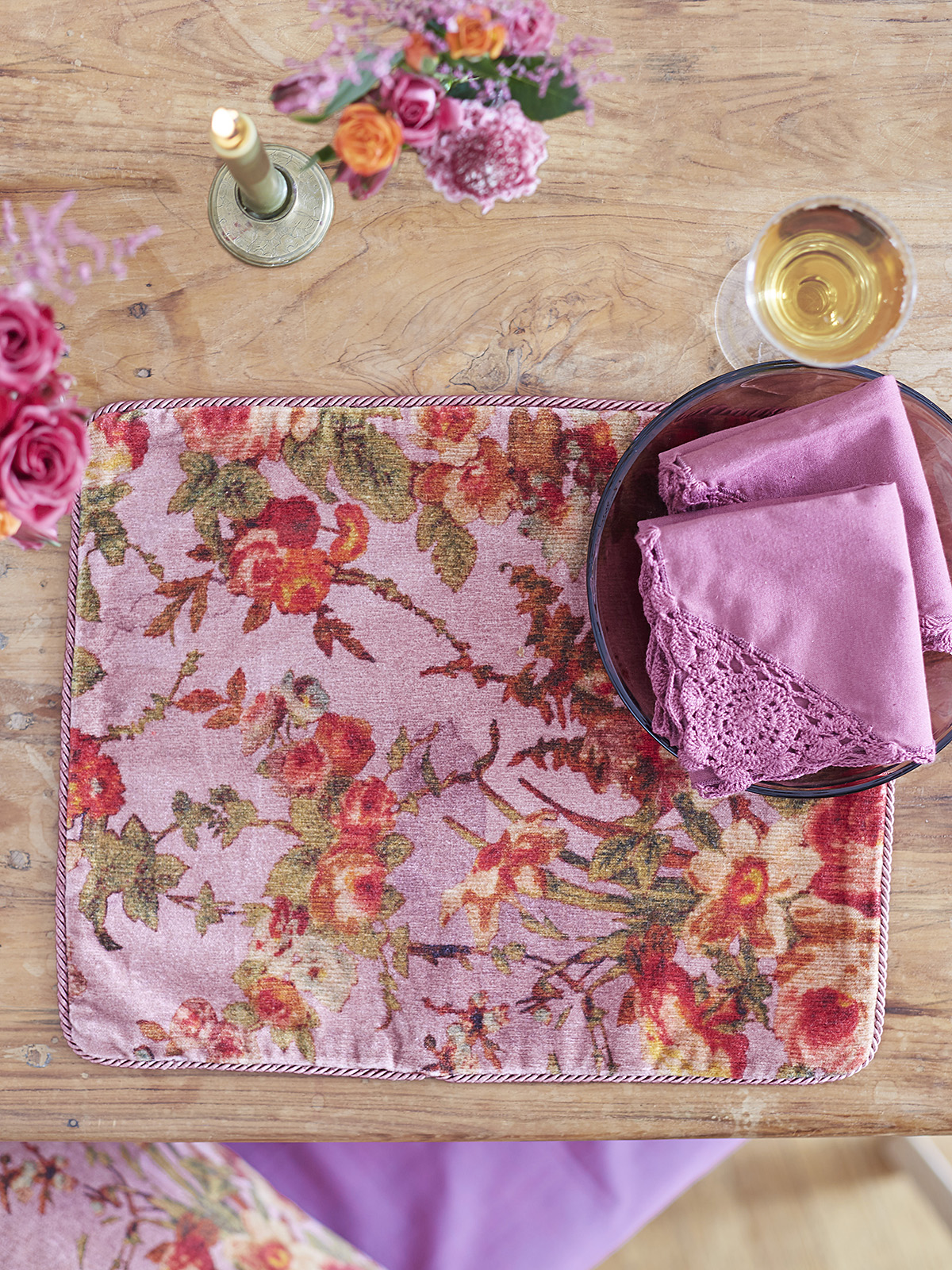 English Garden Velvet Single Placemat