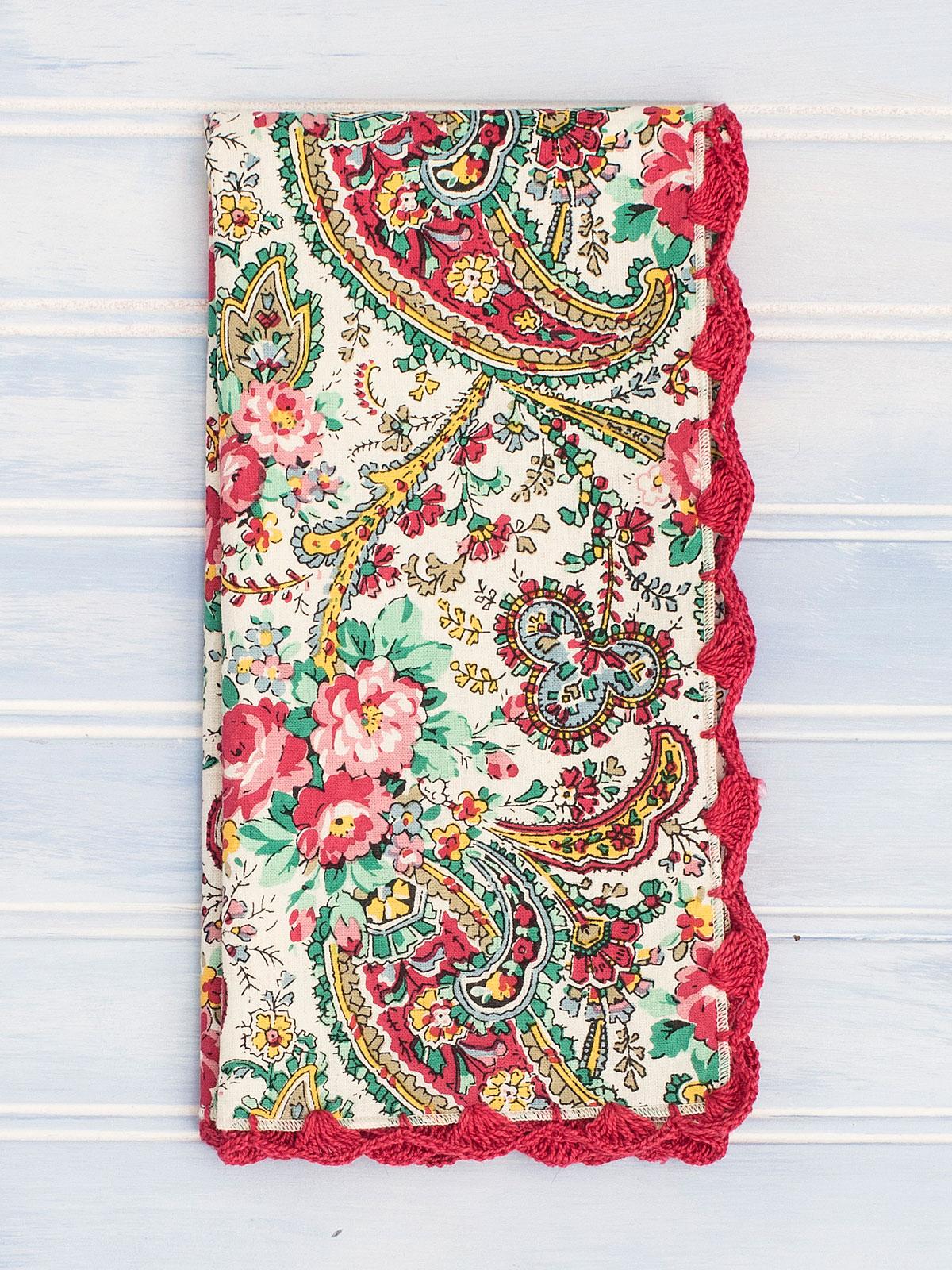 Garden Paisley Crochet Napkin Set Of 4 Linens Kitchen Napkins