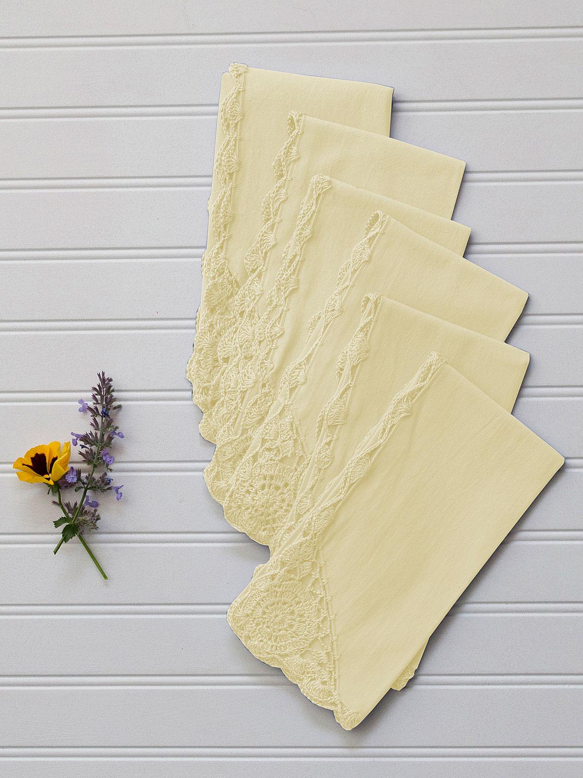 Cora's Crochet Trim Napkins Set of 6 - Butter