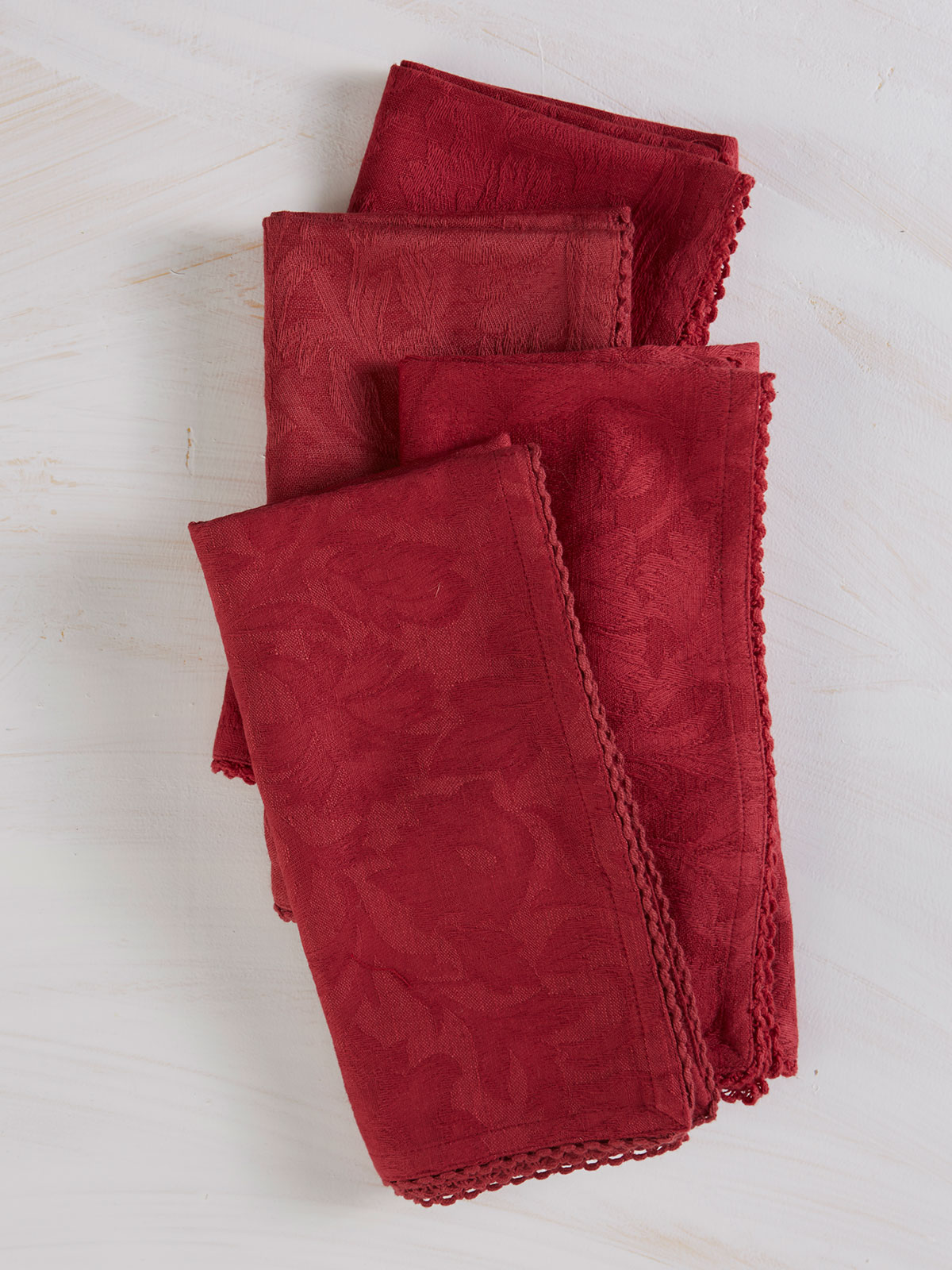 Luxurious Linen Jacquard Napkin Set of 4 - Cranberry