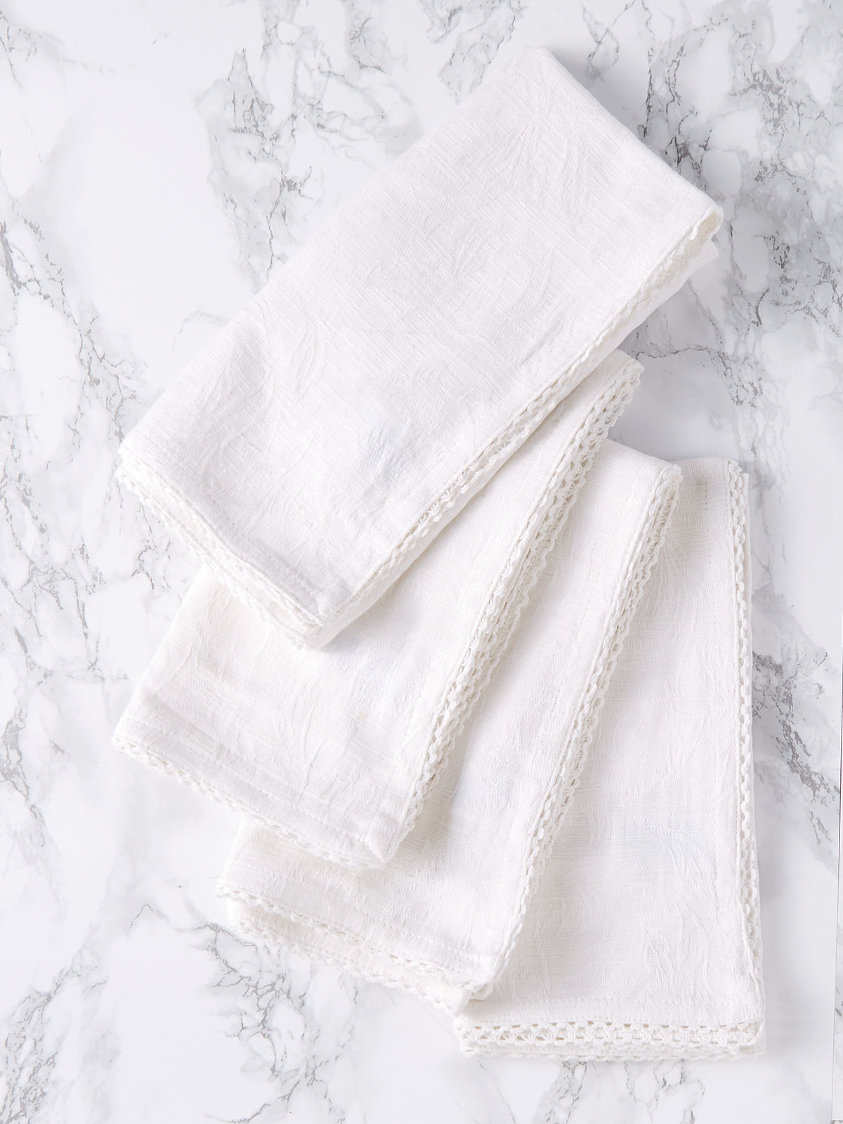 Luxurious Linen Jacquard Napkin Set of 4 - Ivory