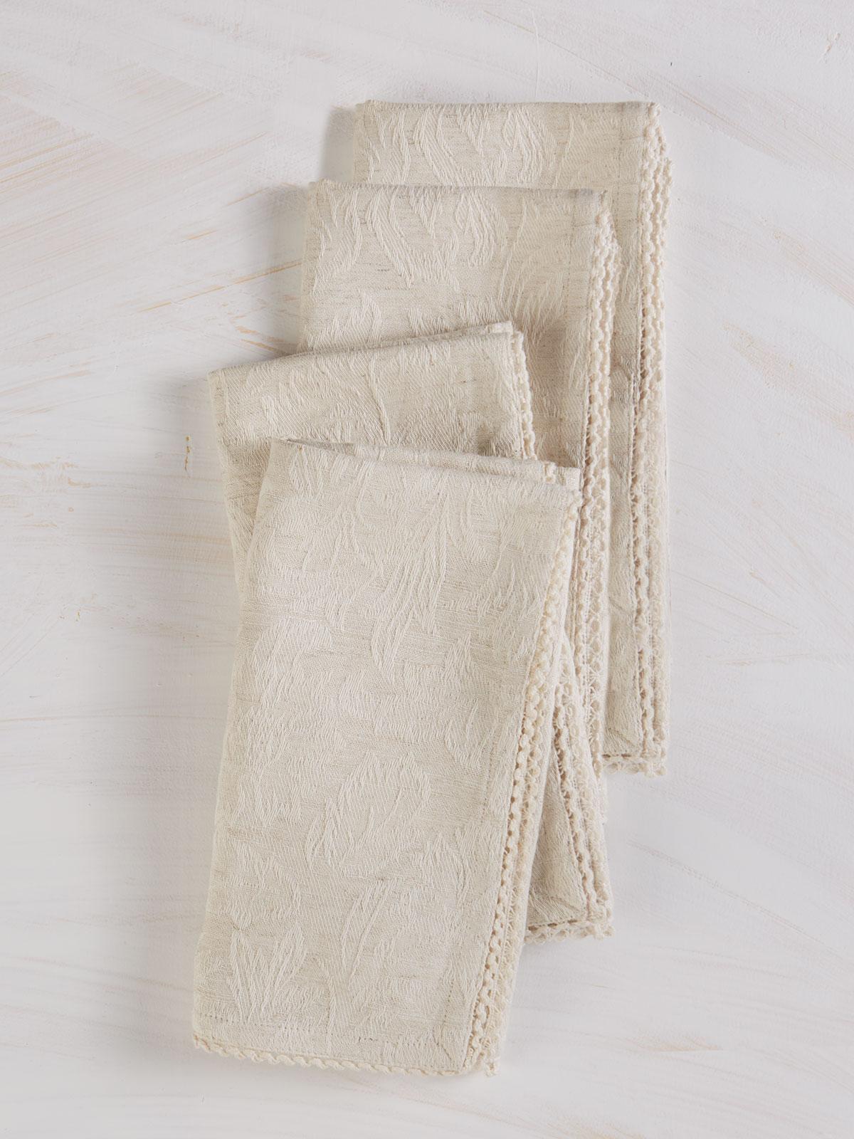 Luxurious Linen Jacquard Napkin Set of 4 - Linen