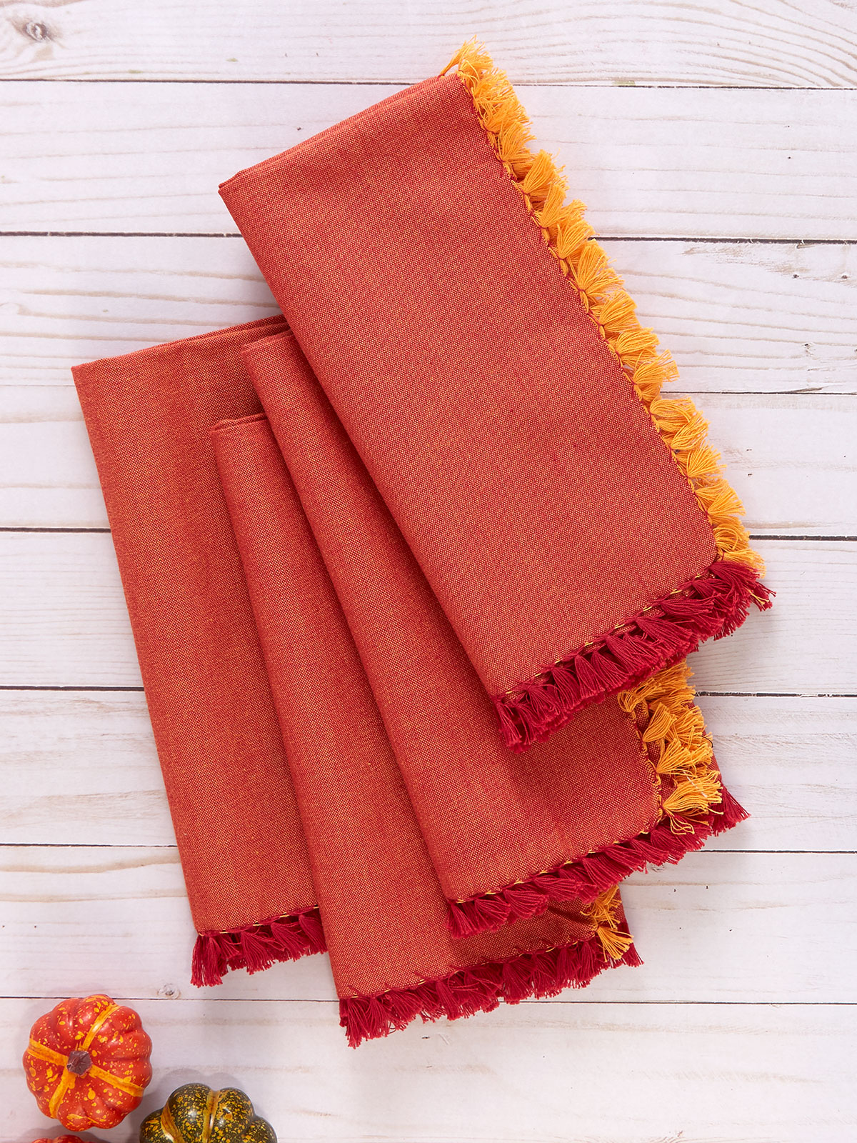 Chambray Napkin Set of 4 - Red/Orange