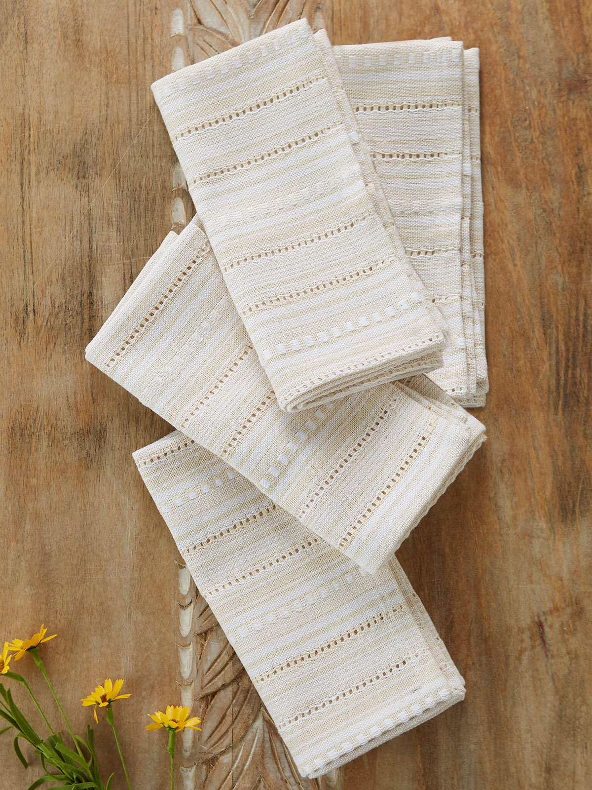 Ribbon Lace Stripe Napkin Set of 4