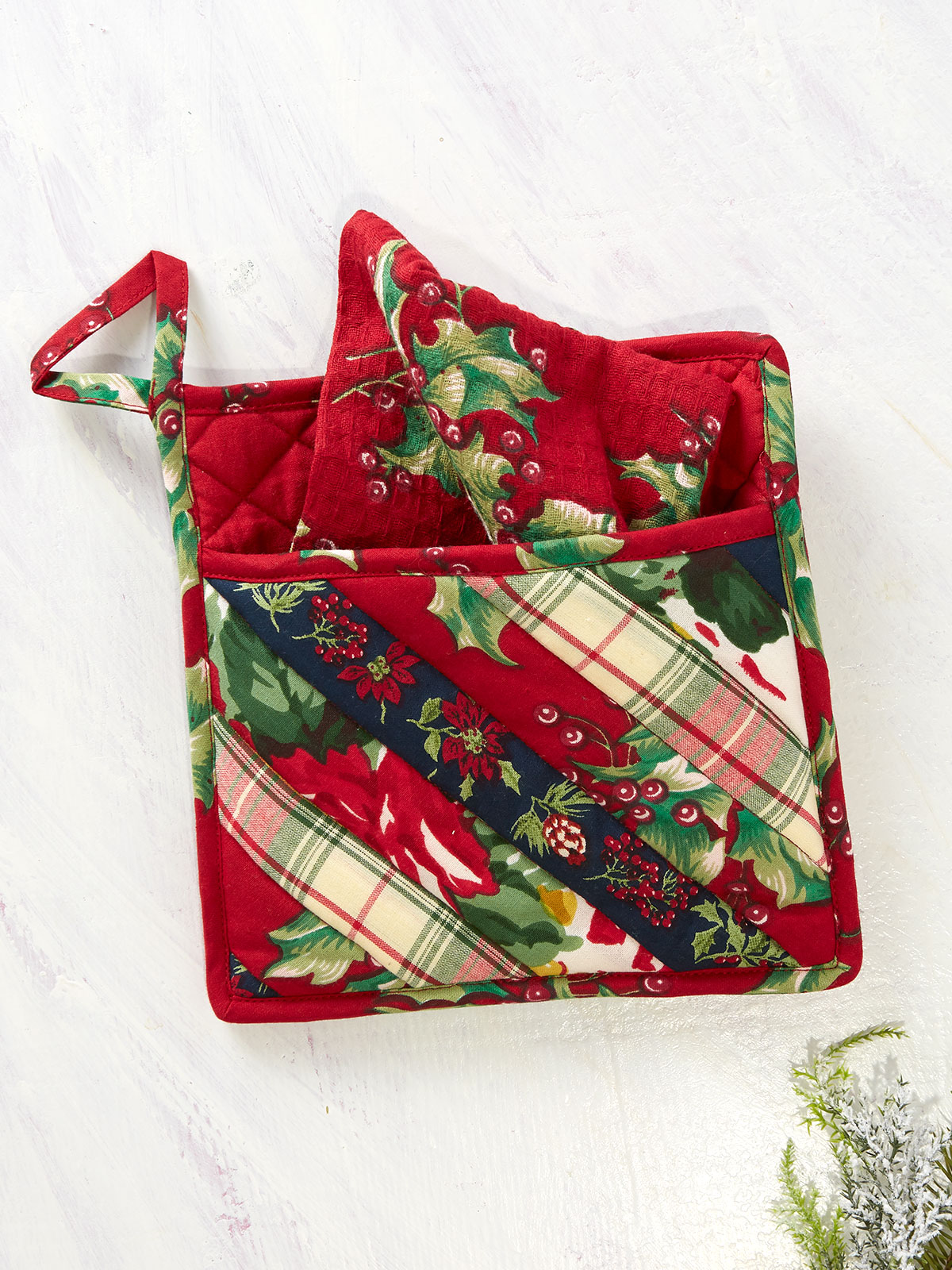 Joyful Patchwork Pocket Potholder