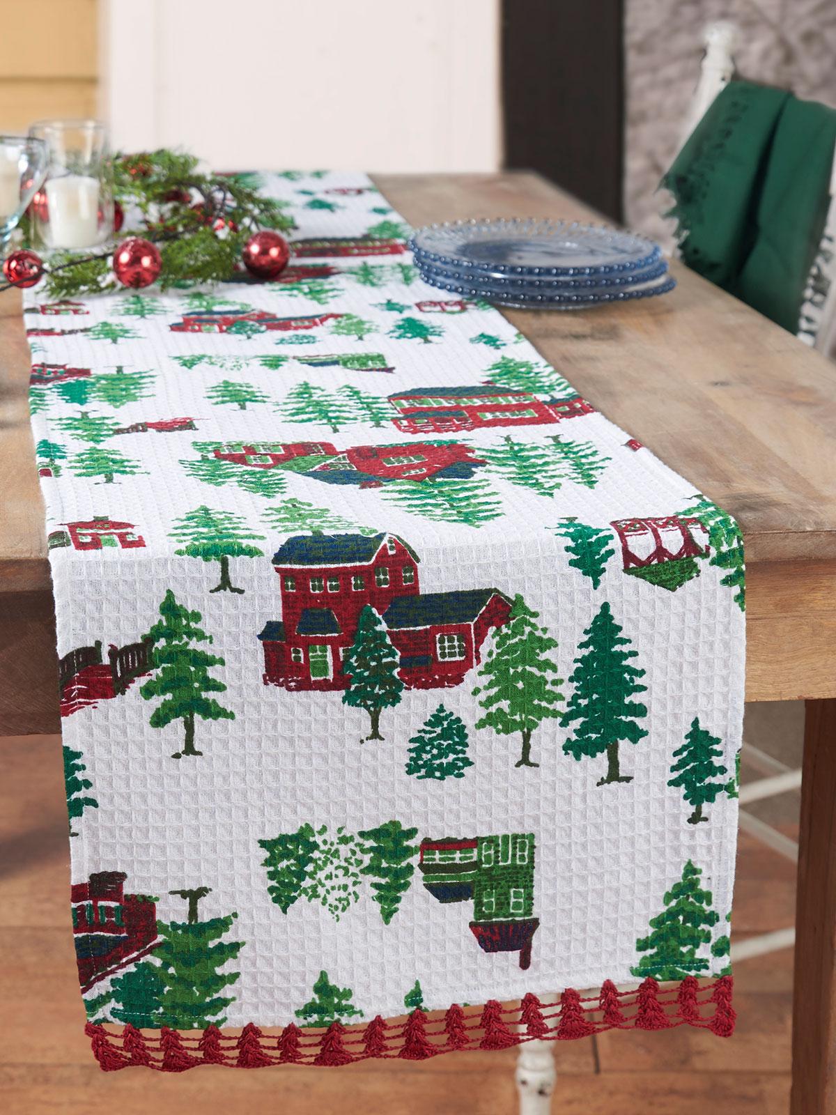 Christmas Village Crochet Runner