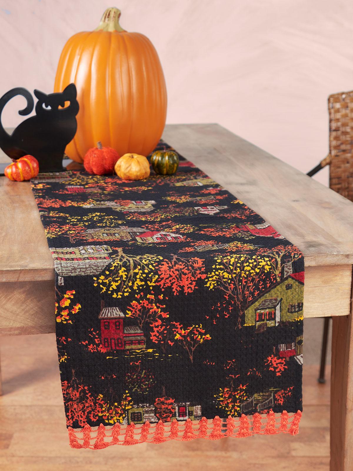 Halloween Village Crochet Runner