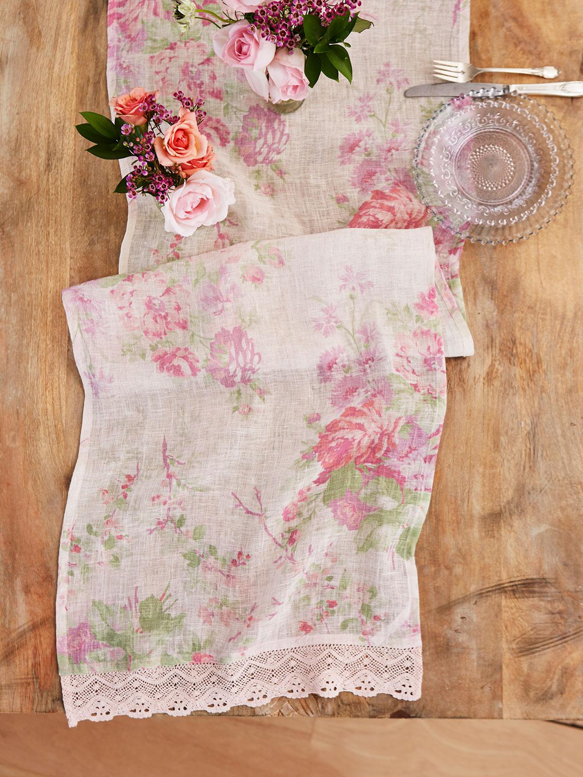 Cottage Rose Linen Runner