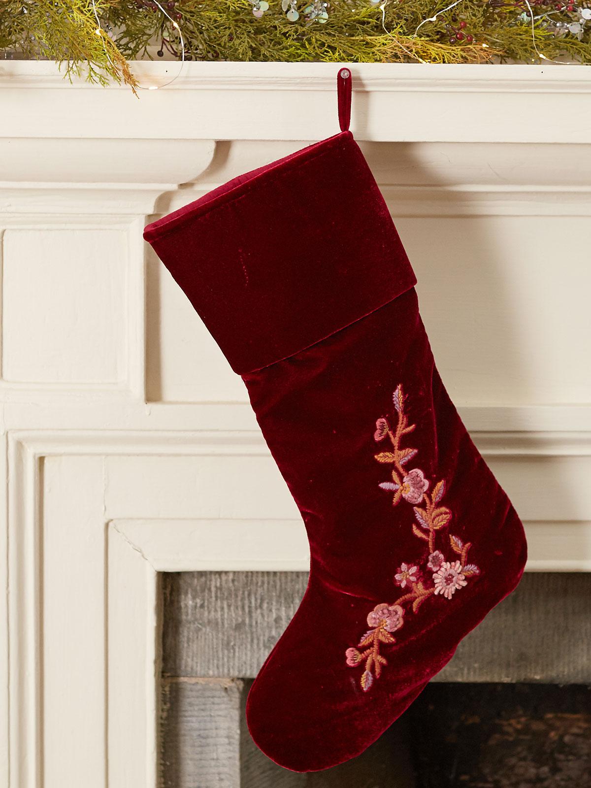 Velvet Embroidered Stocking