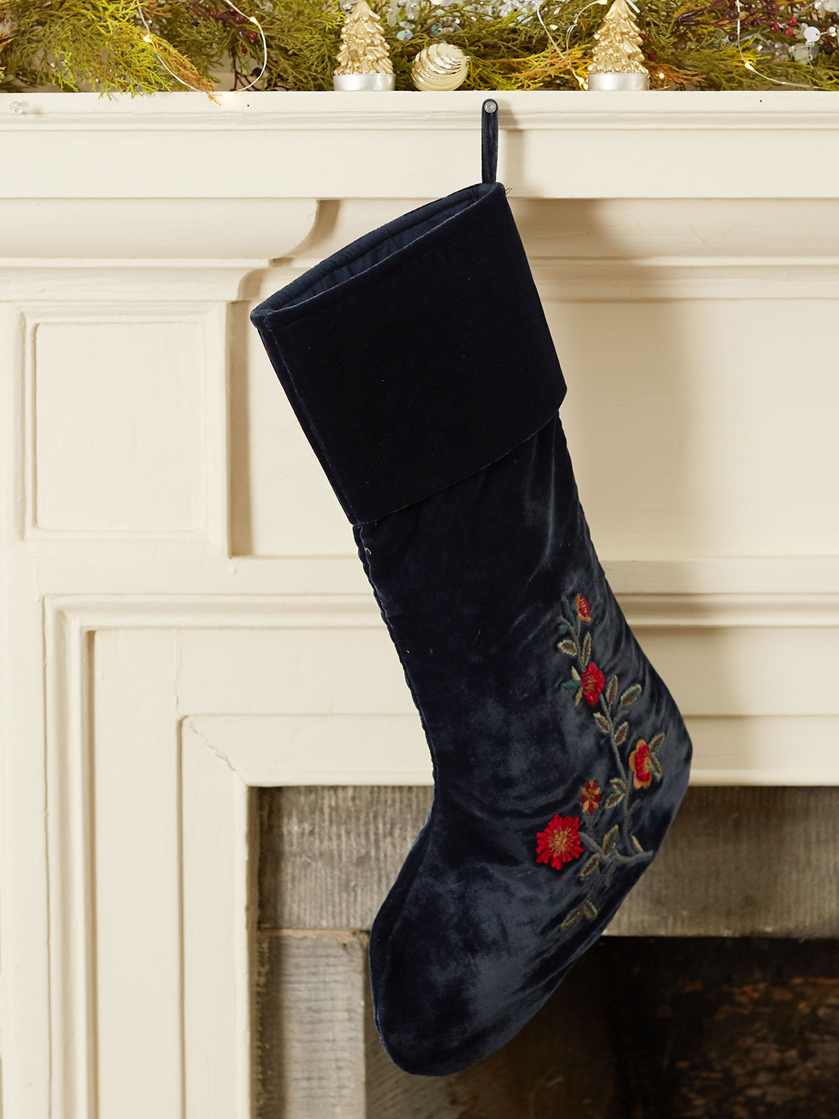 Velvet Embroidered Stocking