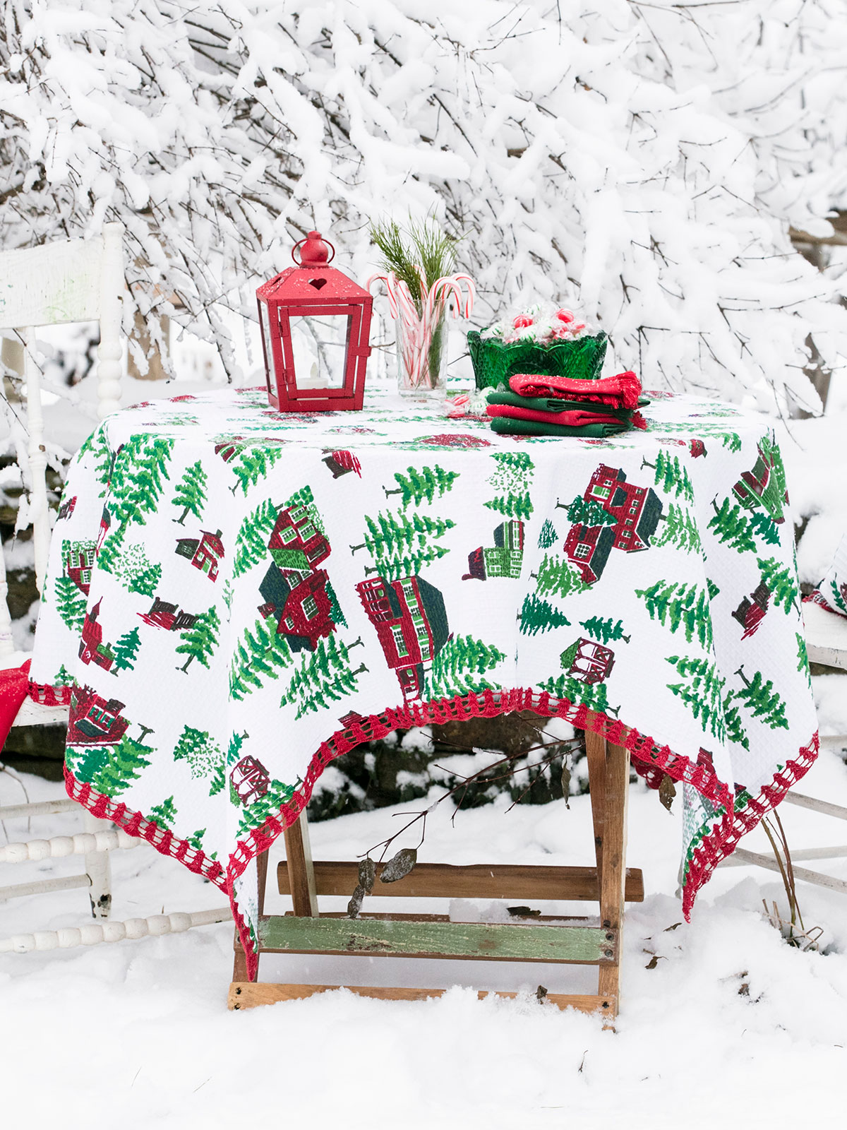 Christmas Village Crochet Tablecloth