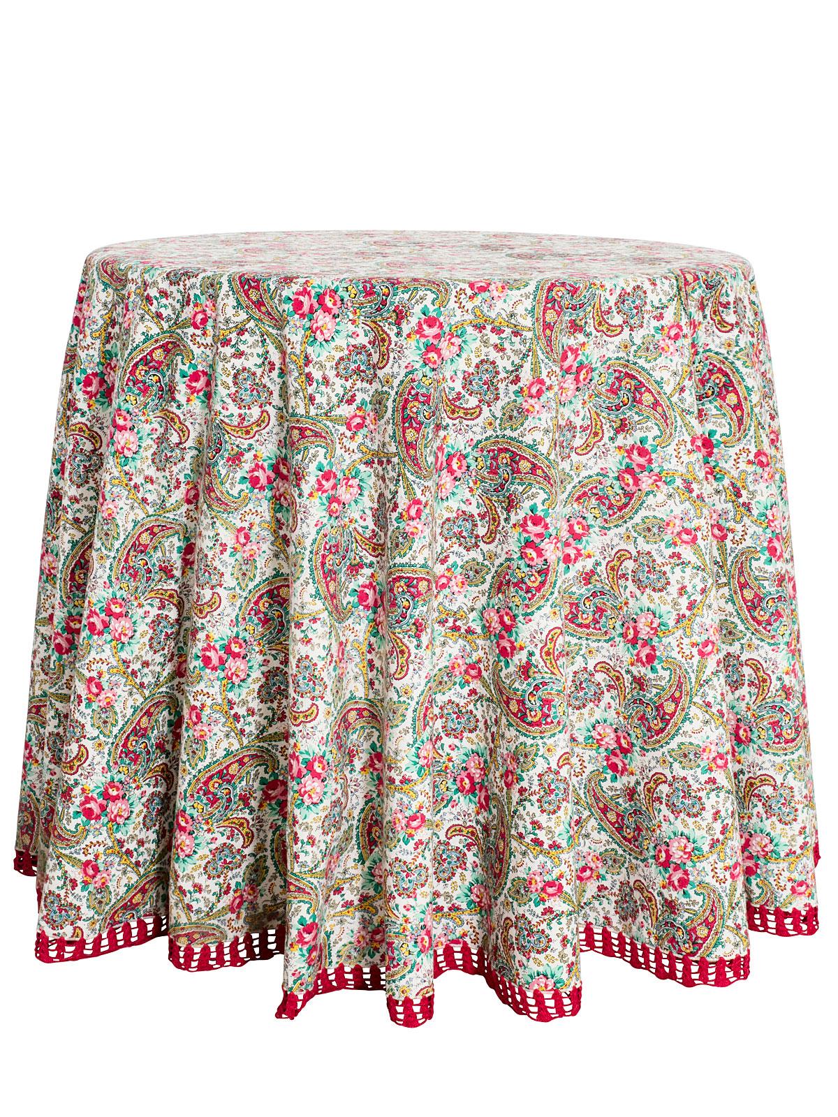 Garden Paisley Crochet Round Tablecloth