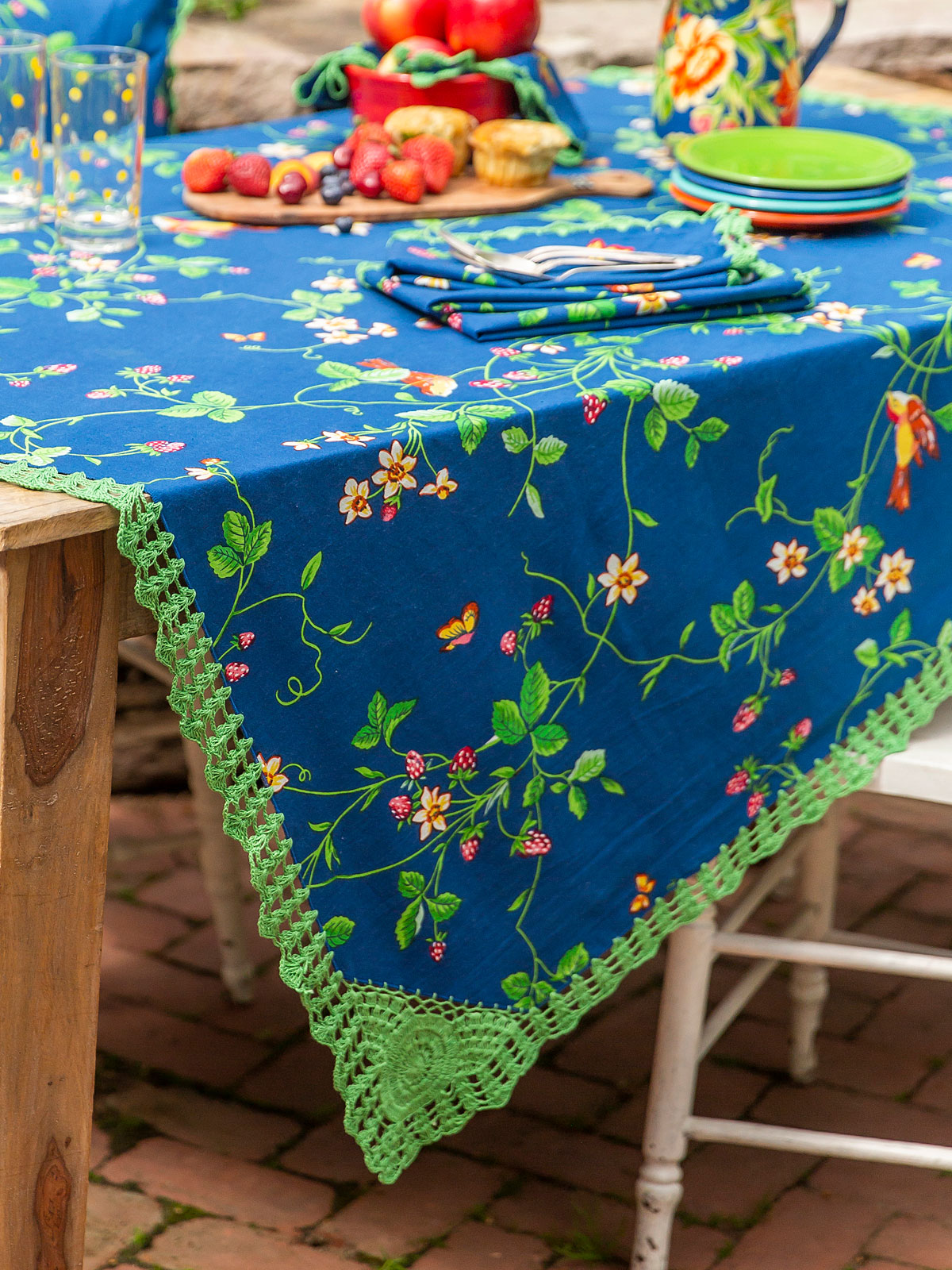 Strawberry Fields Crochet Tablecloth