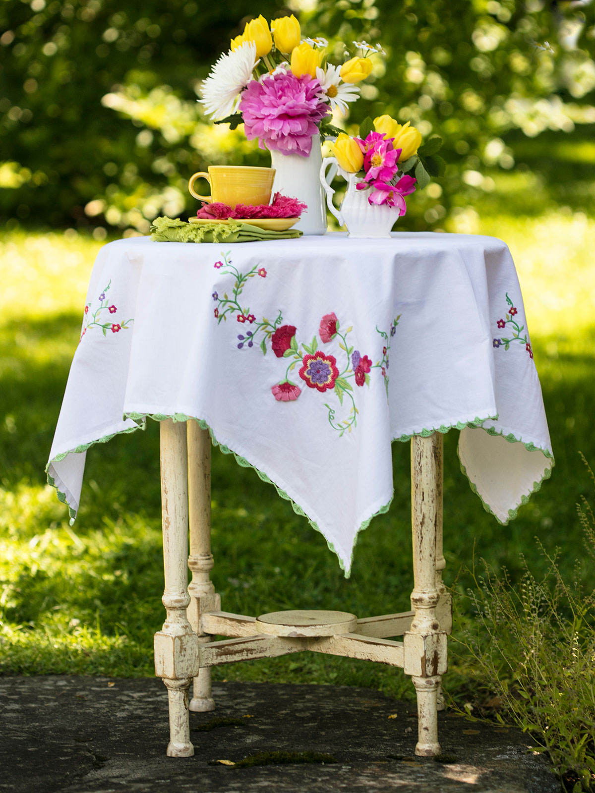 Garden Embroidered Tablecloth