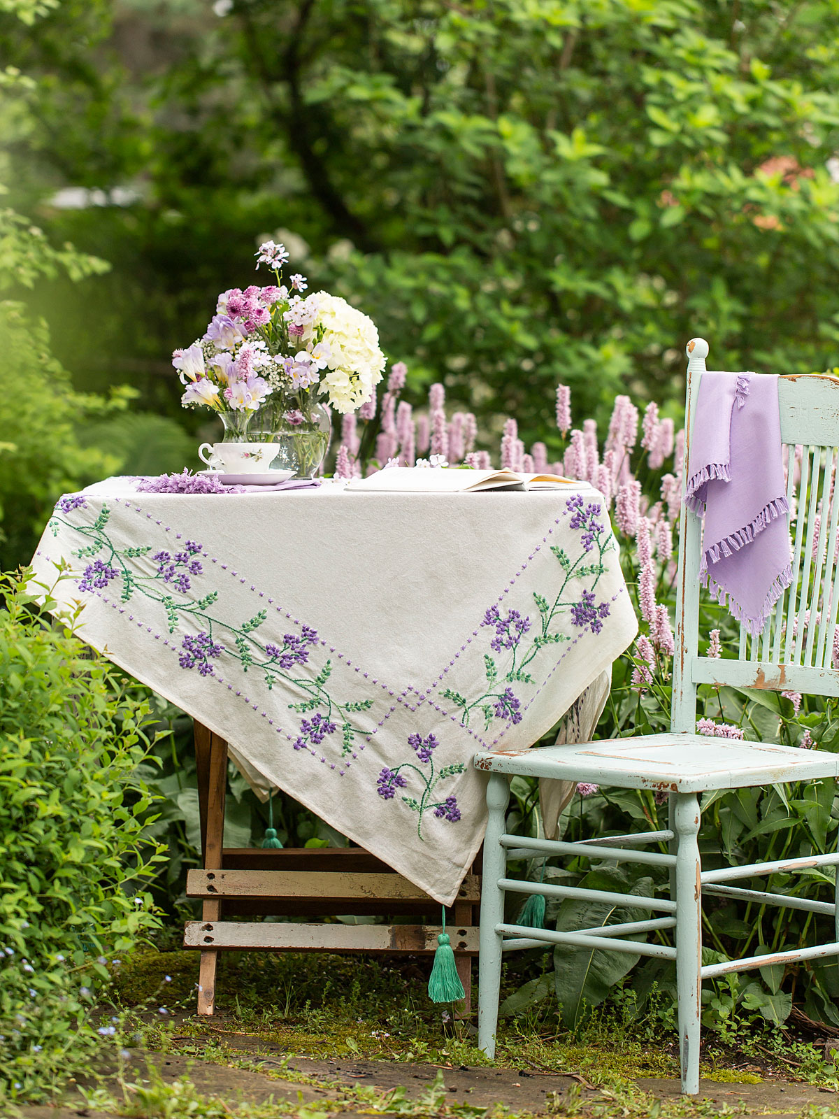 Lavender Blossom Embroidered Tablecloth