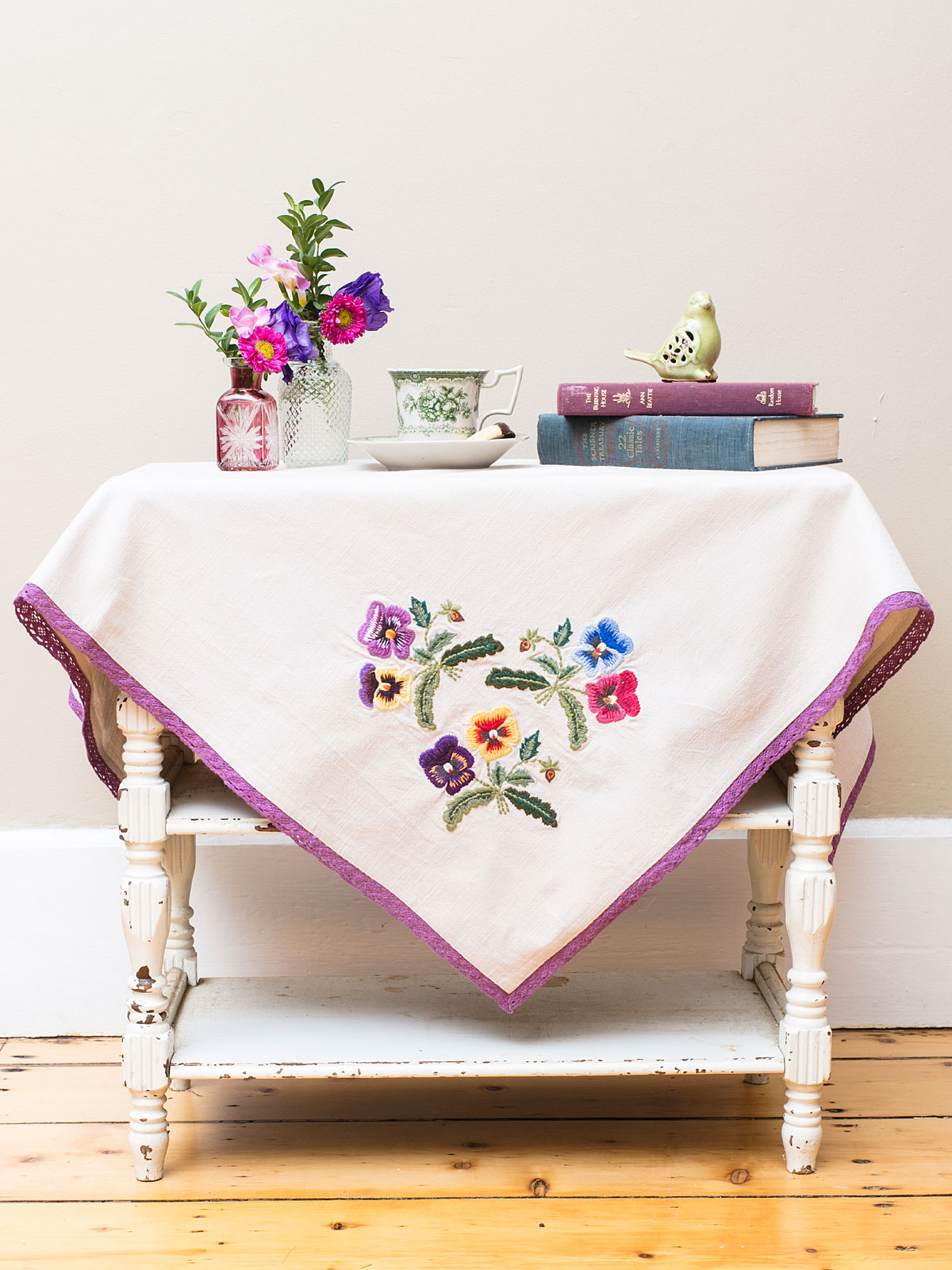 Pansy Embroidered Topper Cloth