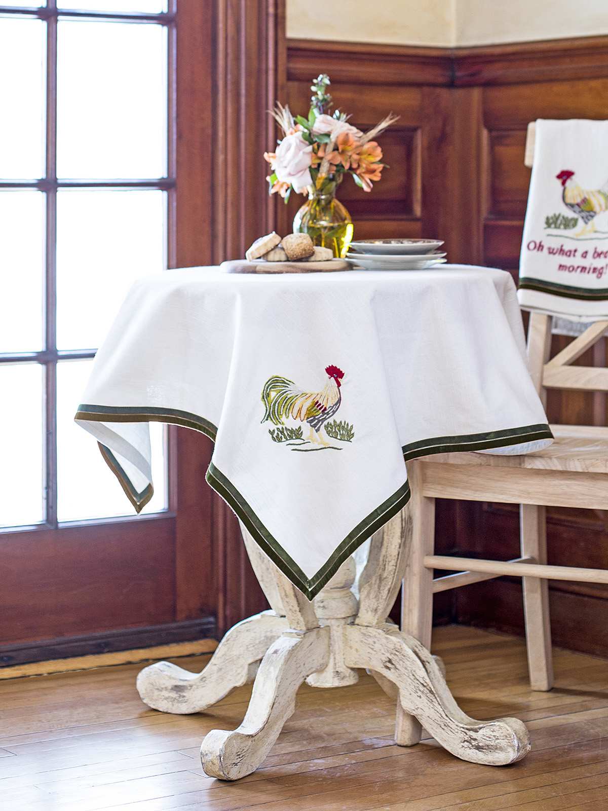 Rooster Embroidered Tablecloth