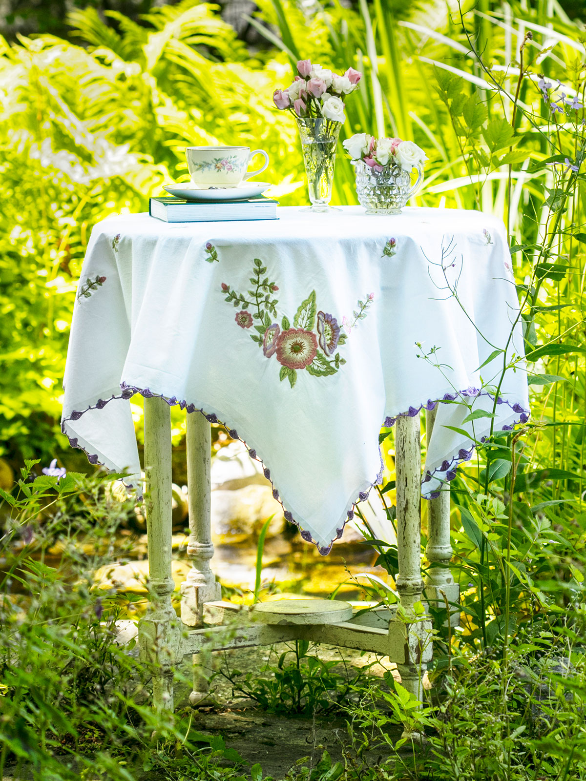 Rosemary's Embroidered Tablecloth