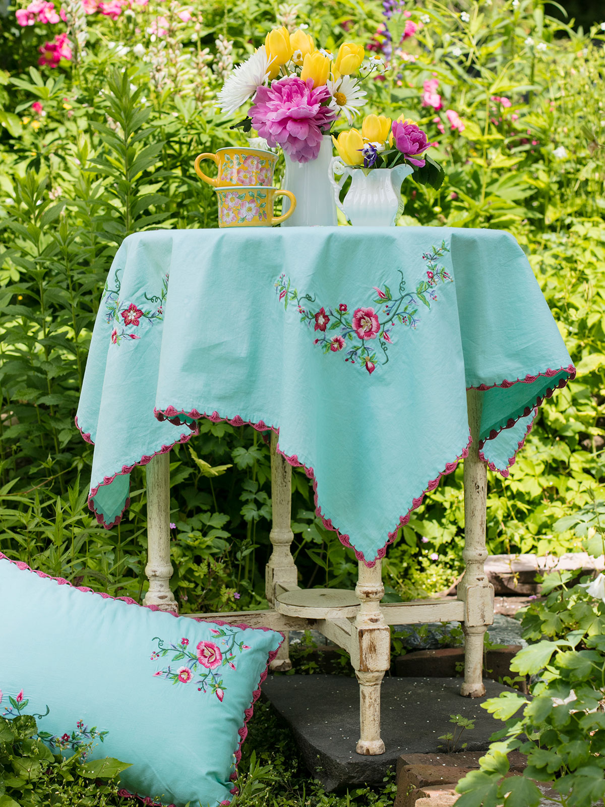 Tea Rose Embroidered Tablecloth
