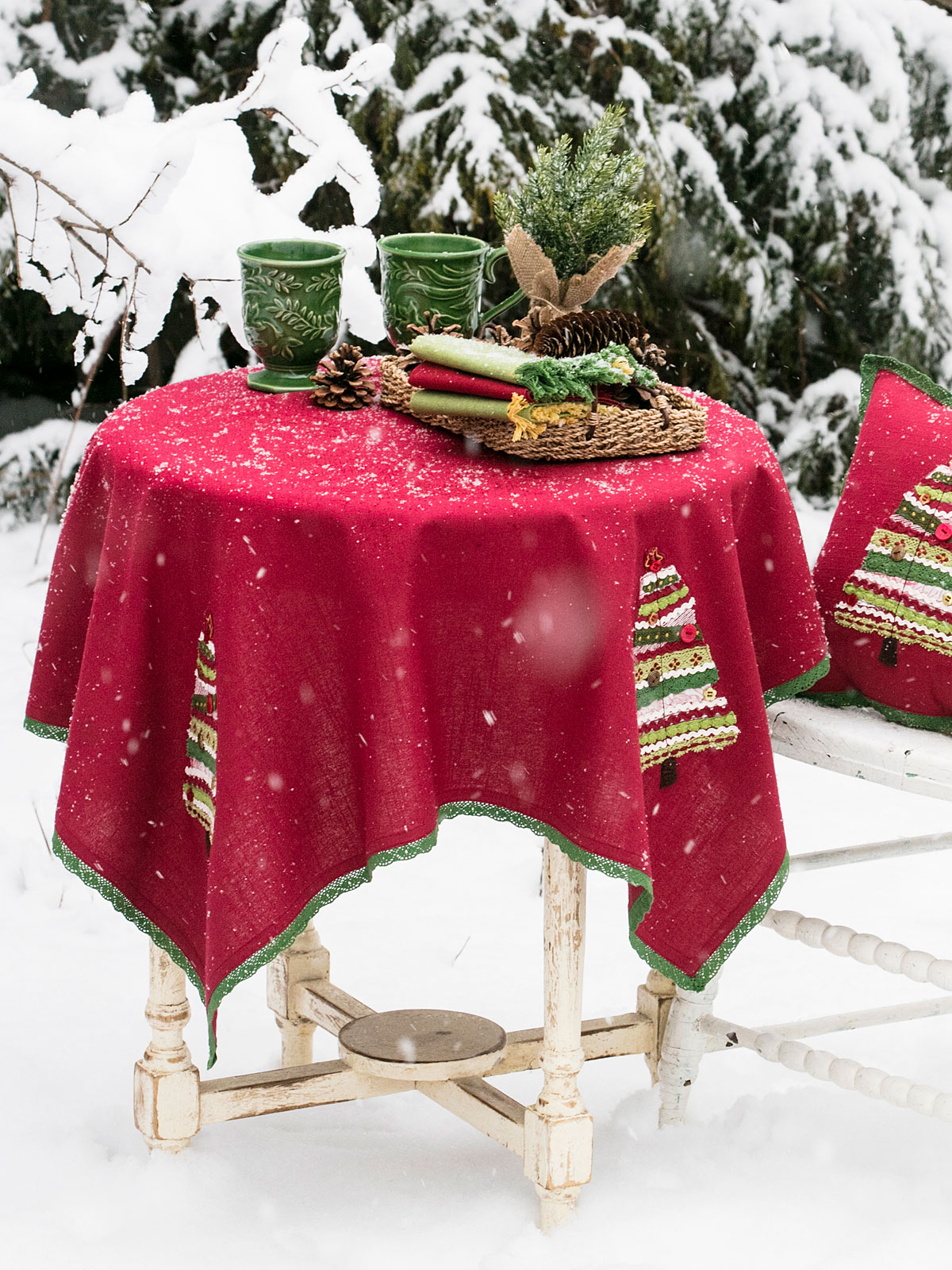 Village Tree Embroidered Topper Cloth