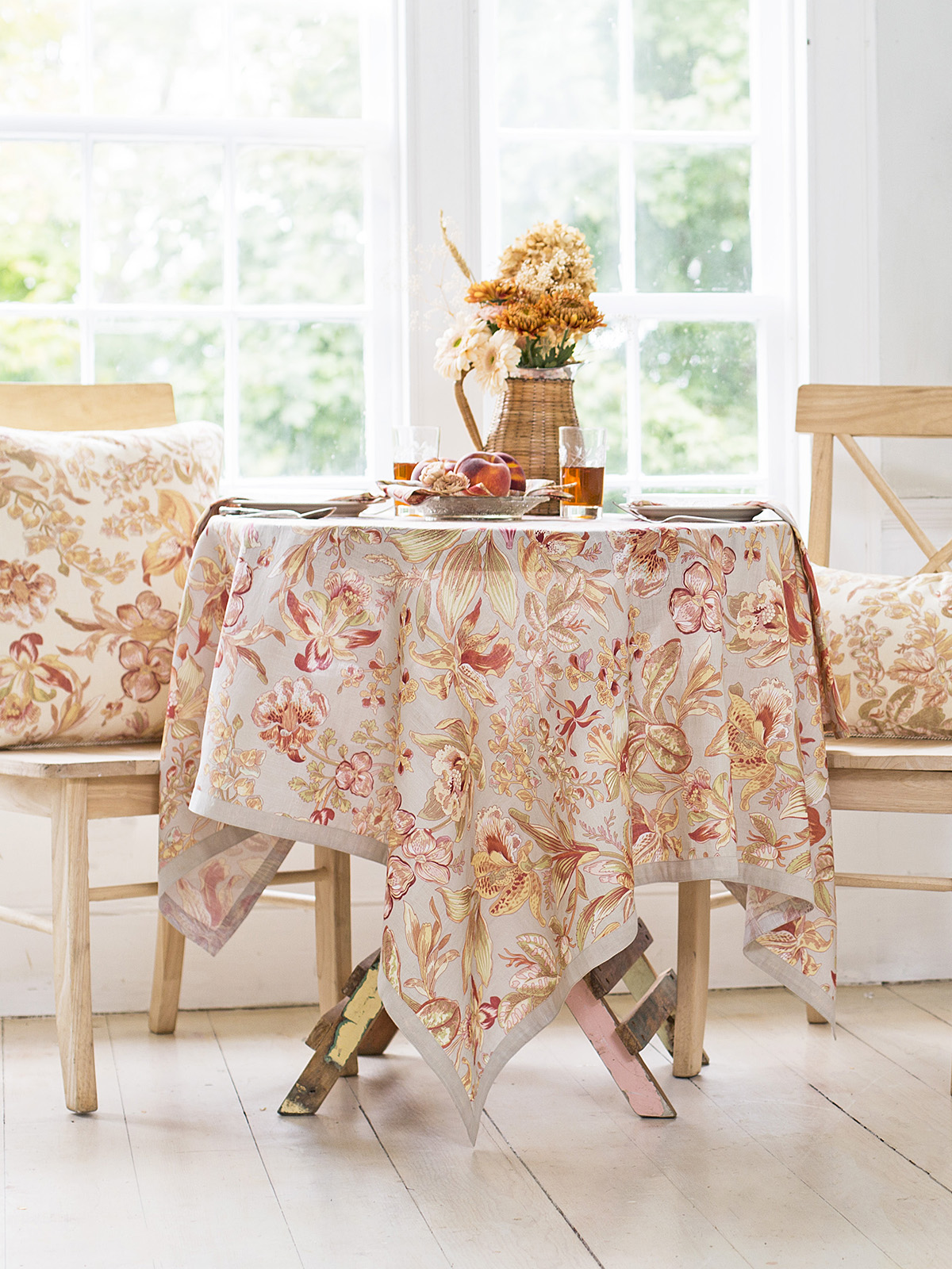 Orchid Study Linen Tablecloth