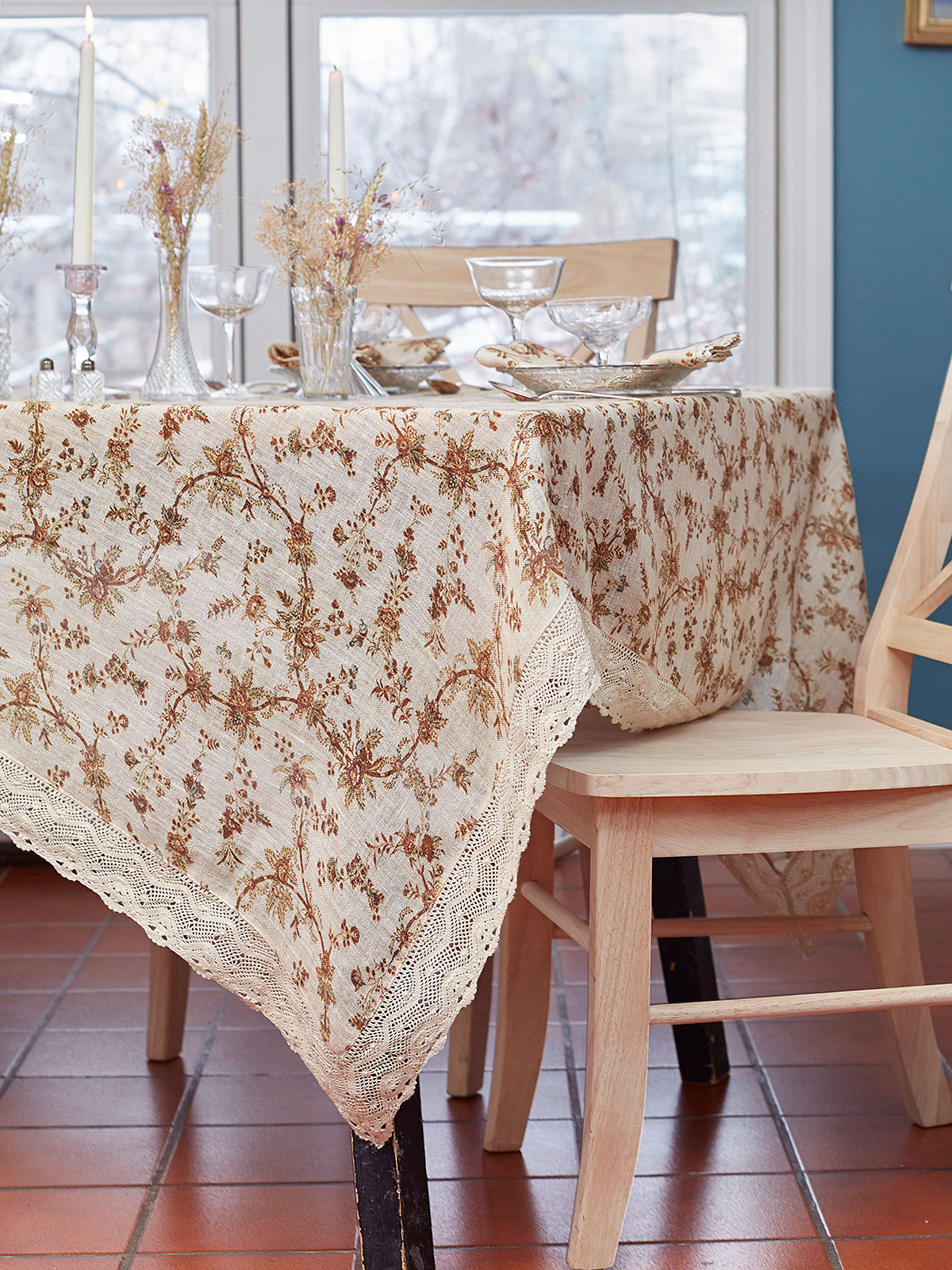 Vintage Garden Linen Tablecloth