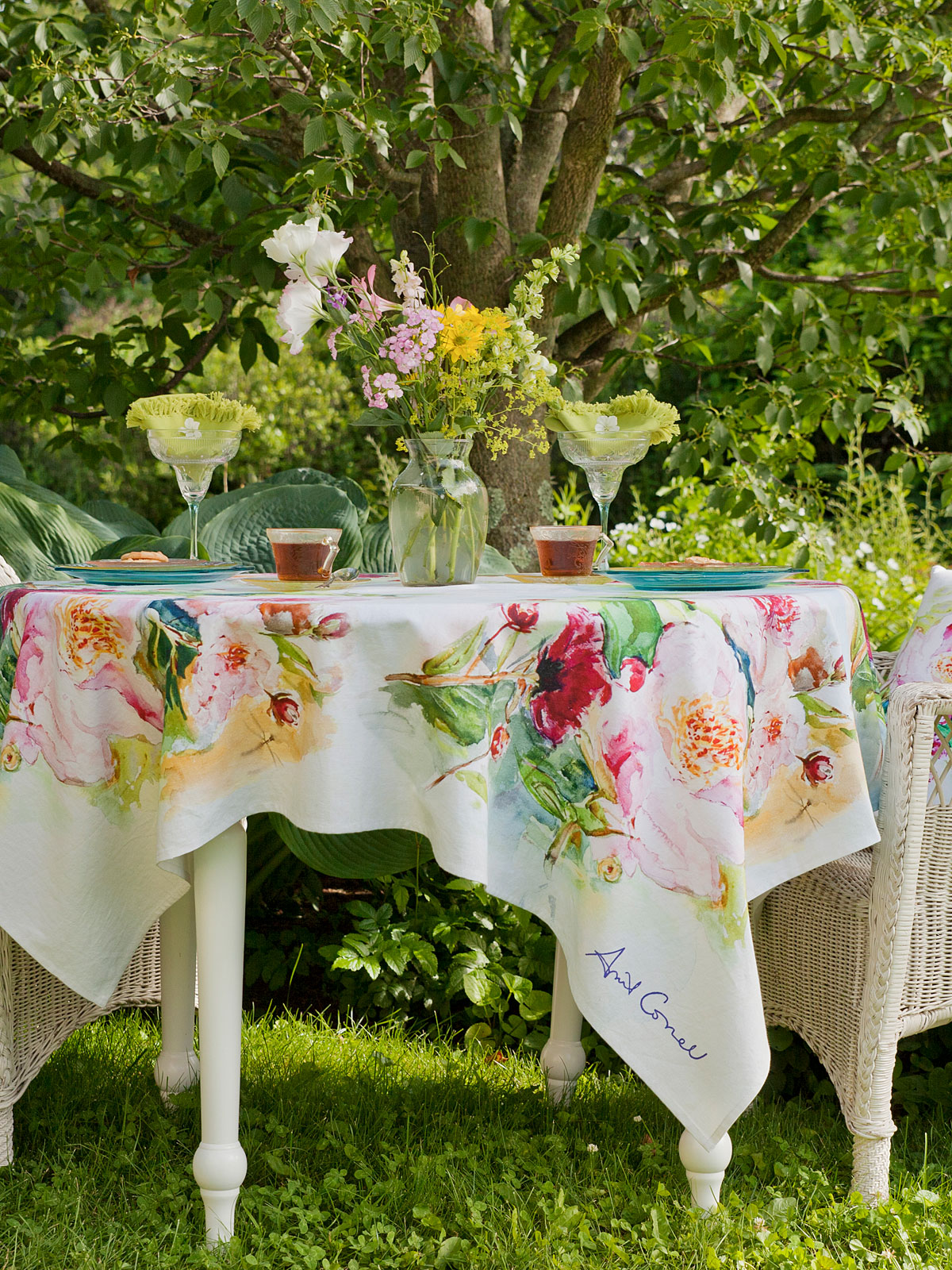 Peony Watercolor Tablecloth