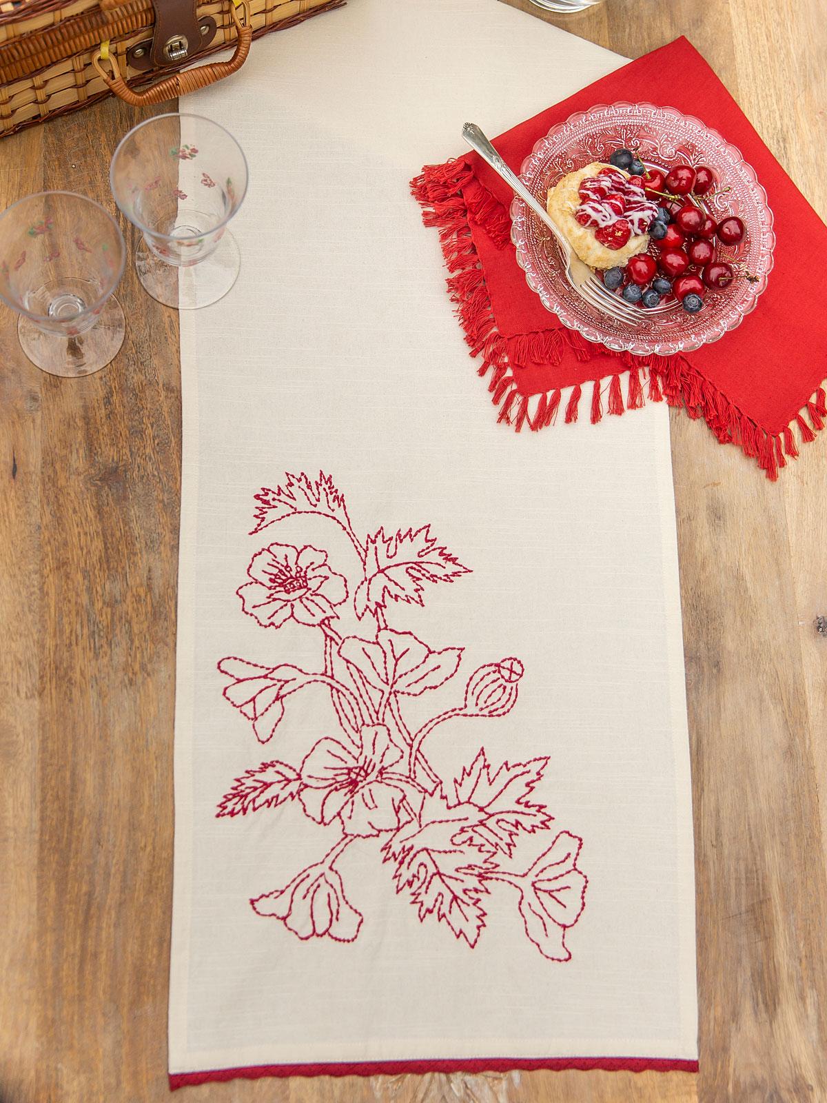 Poppy Embroidered Table Runner