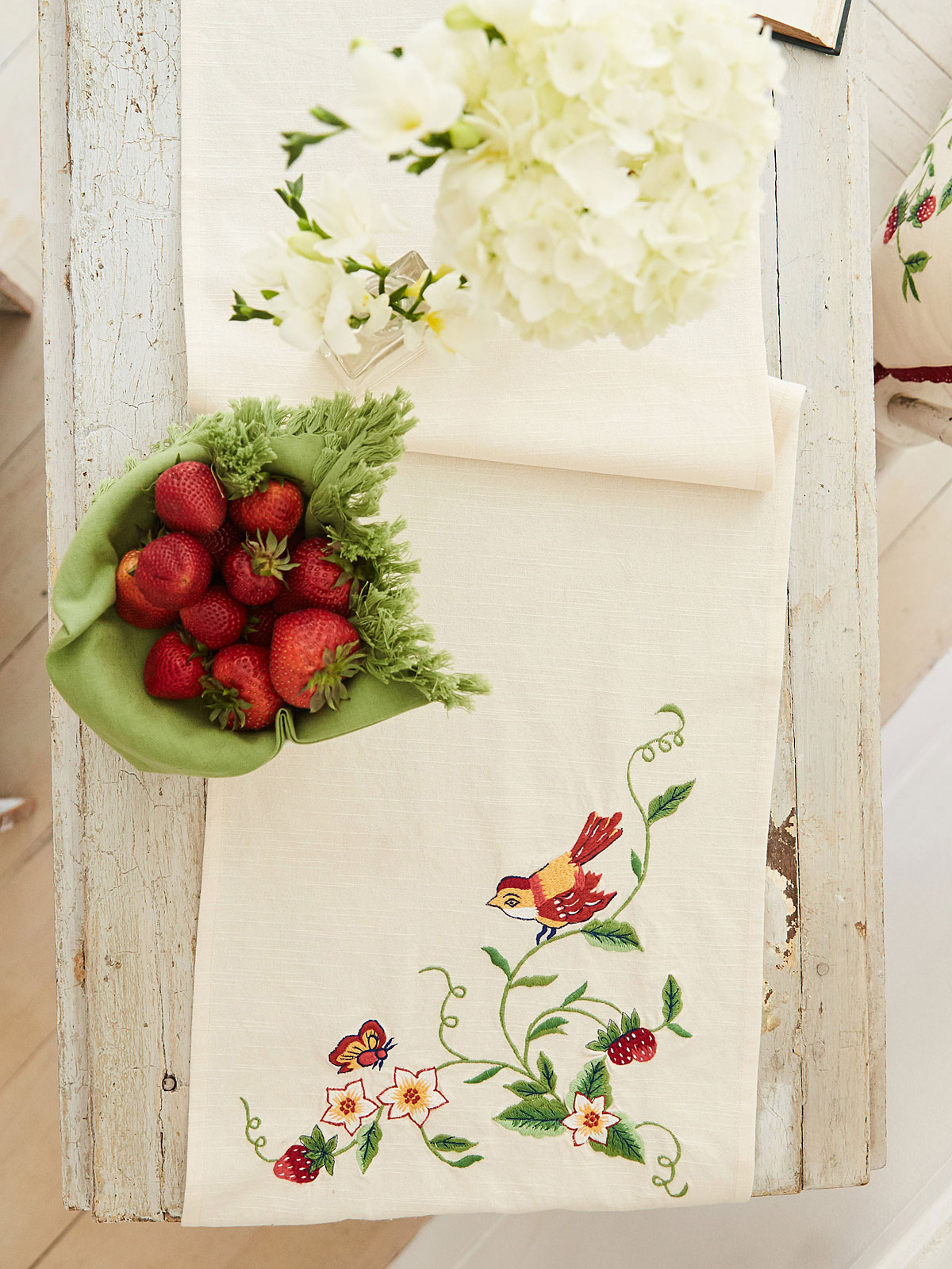 Strawberry Embroidered Table Runner