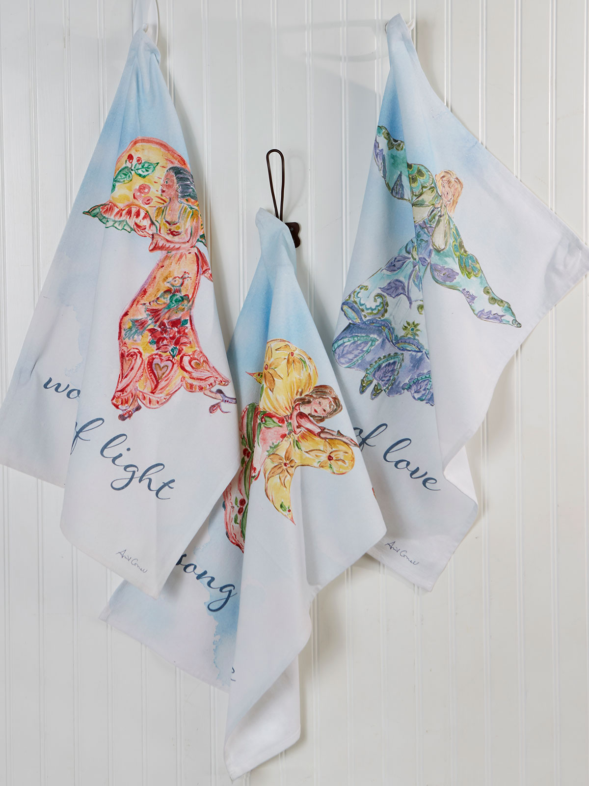Angel Watercolor Tea Towel Set of 3