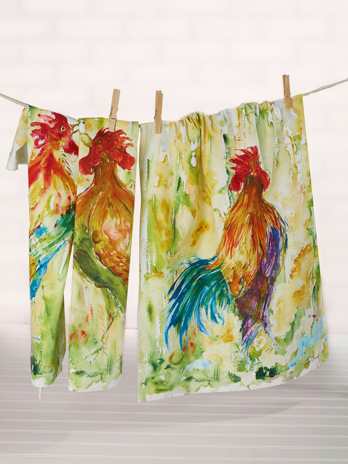 Rooster Watercolor Tea Towel Set of 3