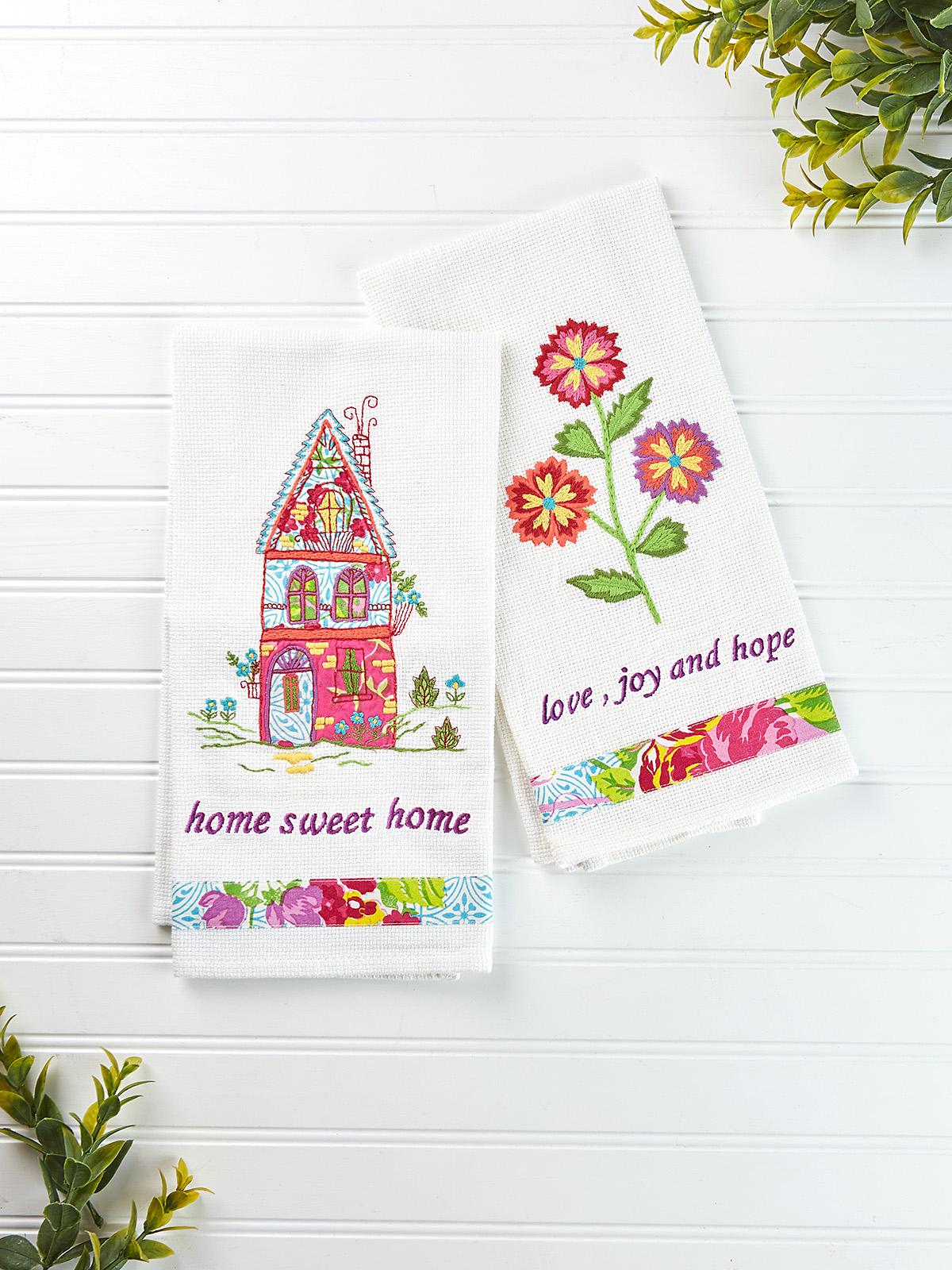 Fiesta Garden Embroidery Tea Towel Set of 2