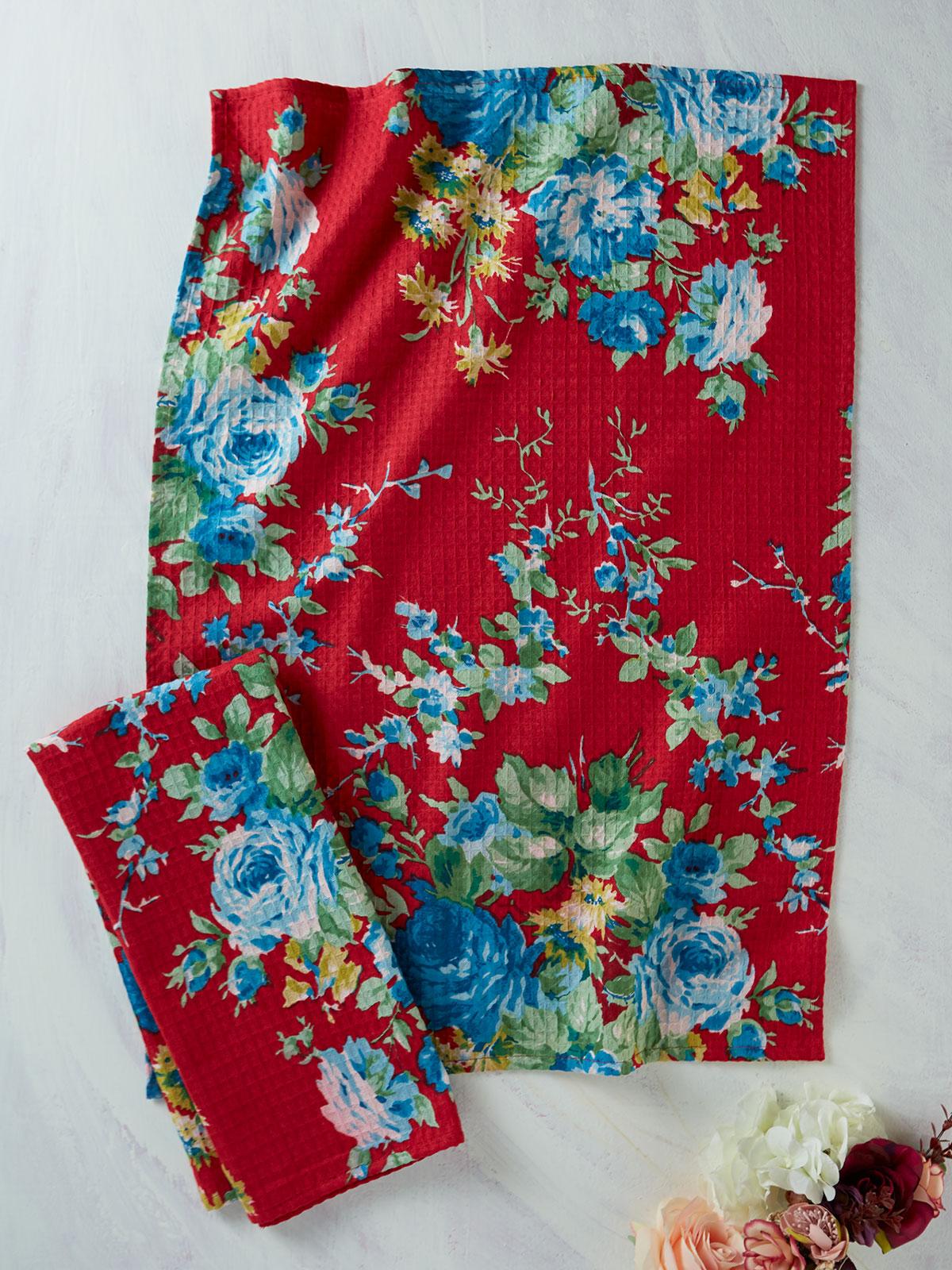 Cottage Rose Tea Towel Set of 2 | Kitchen & Table Linens ...