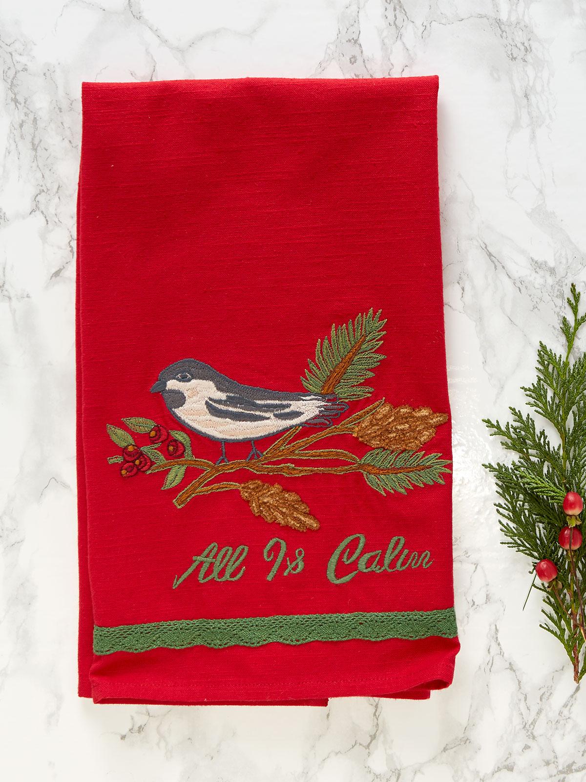 Chickadee Embroidered Tea Towel