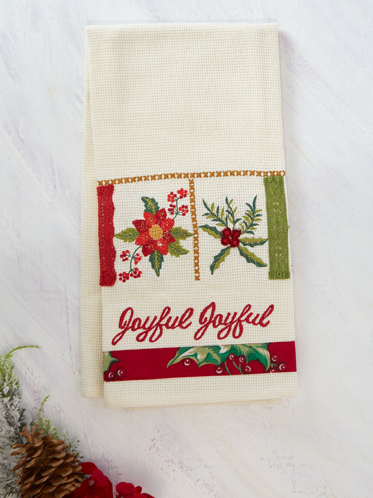 Christmas Sampler Embroidered Tea Towel