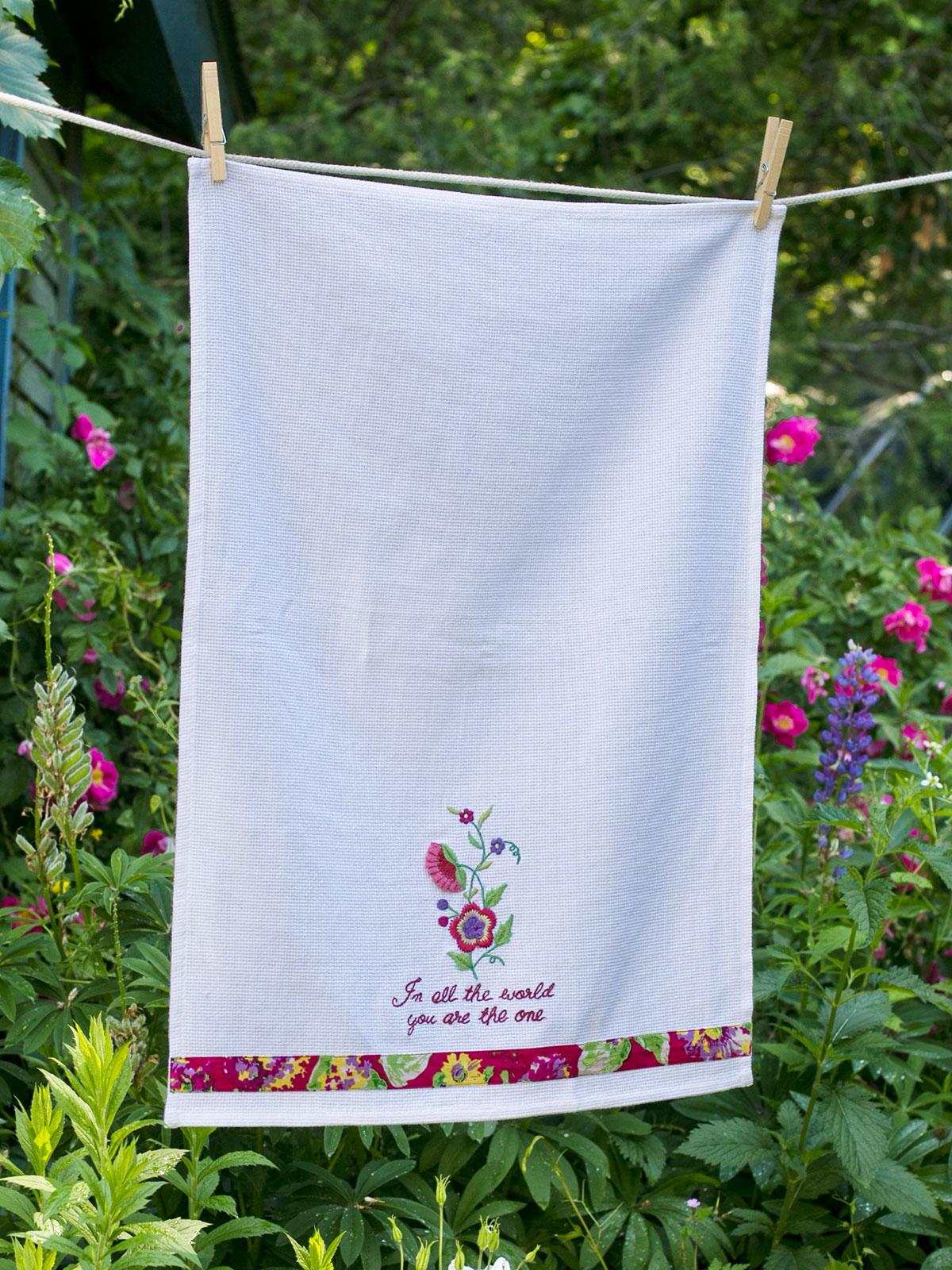 Garden Embroidered Tea Towel