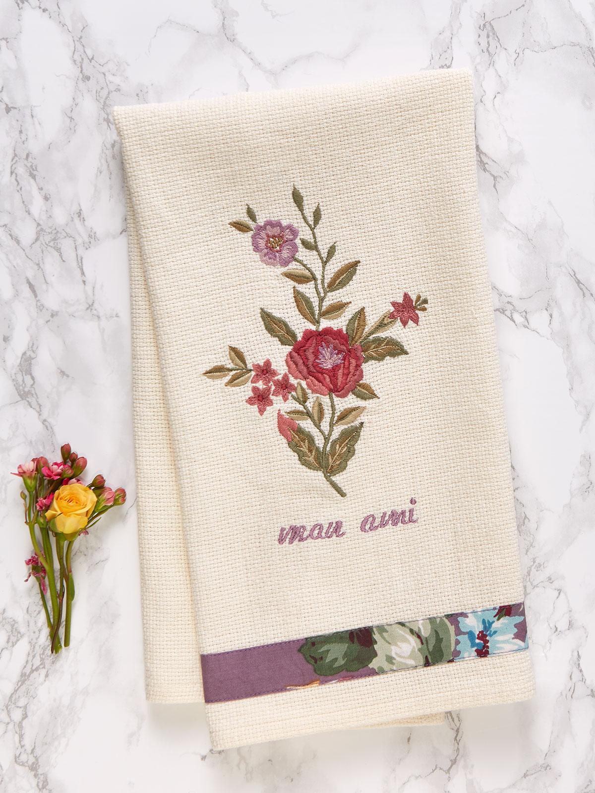 Keepsake Embroidered Tea Towel