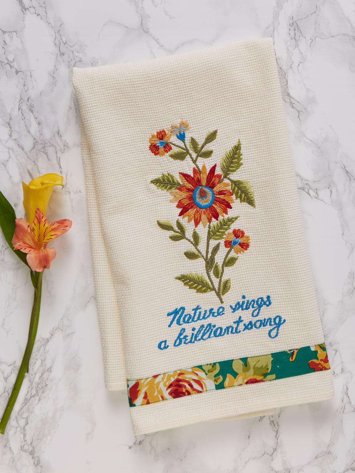 Marguerite Embroidered Tea Towel