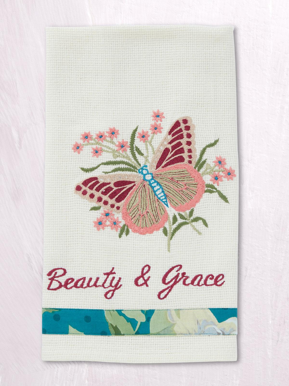 Mariposa Embroidered Tea Towel