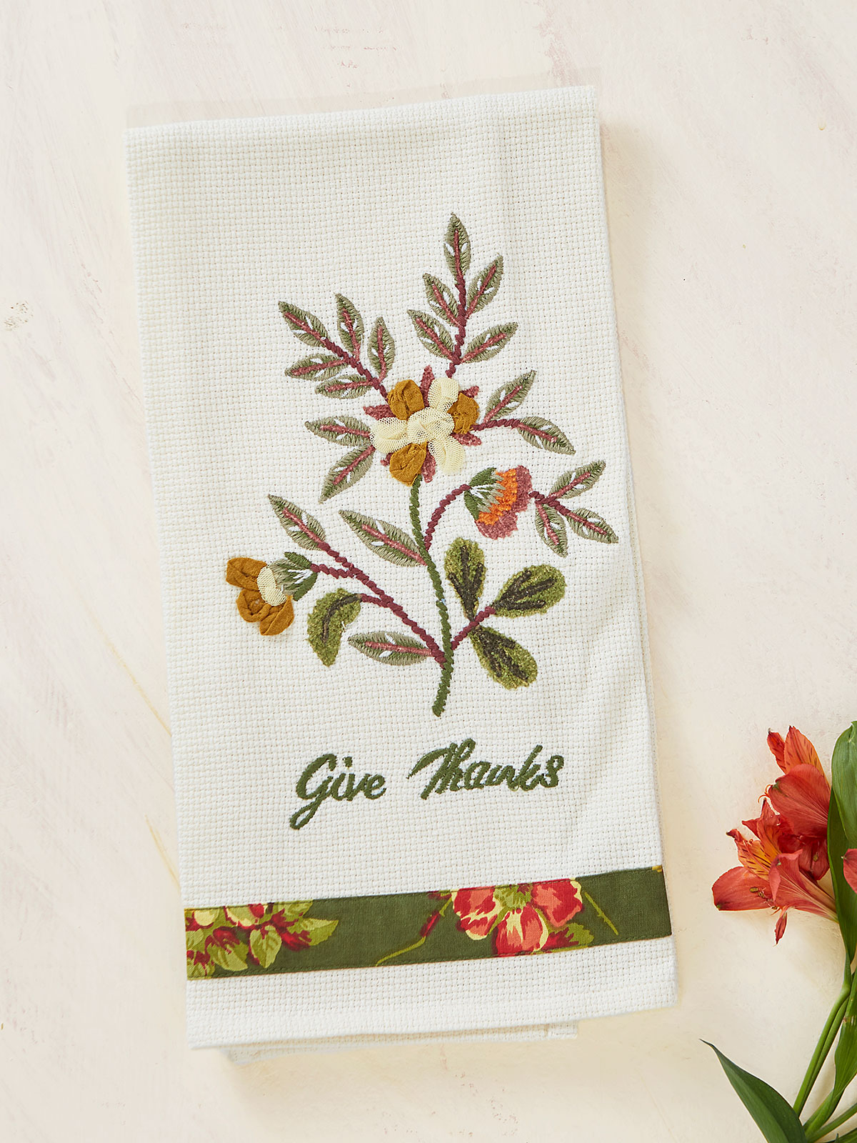 Nature's Embroidered Tea Towel